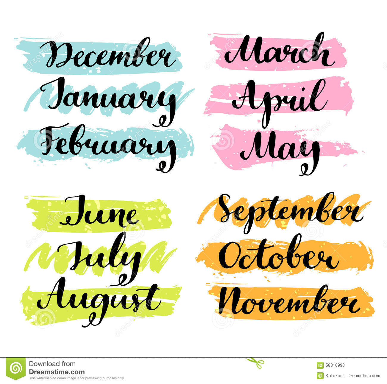 Handwritten Months Of The Year. Calligraphy Words Stock Vector - Image ...
