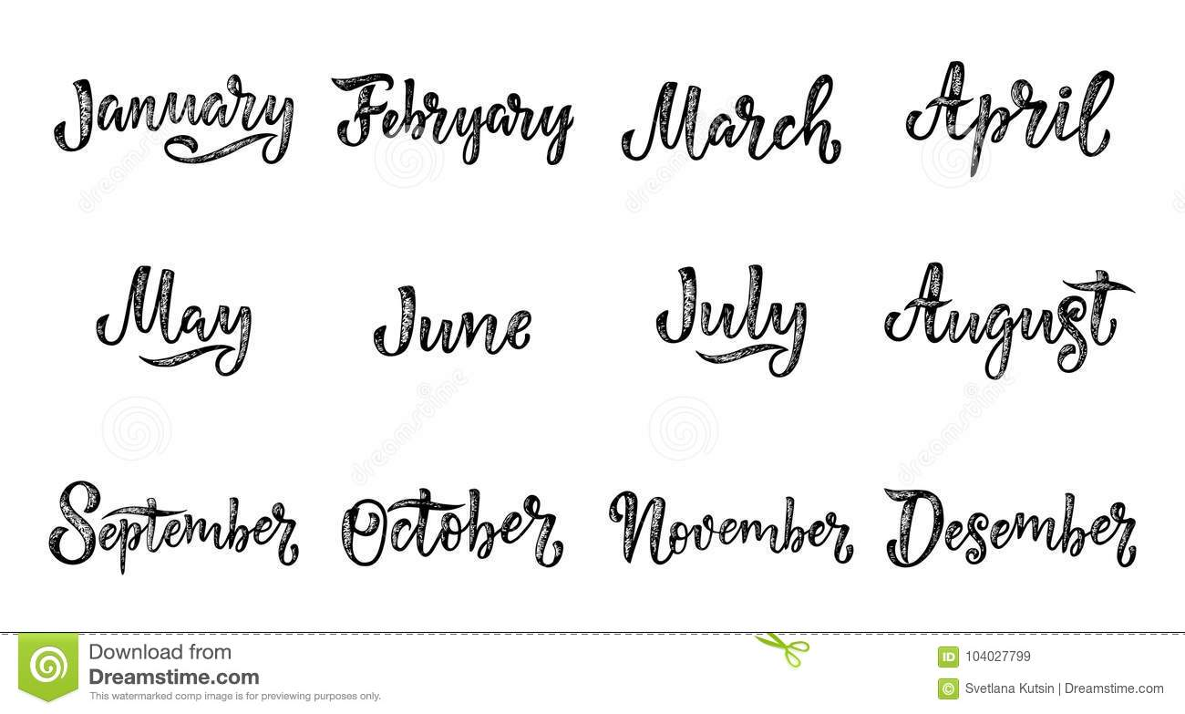 Handwritten names of months December, January, February, March, April, May, June, July, August, September, October, November. Call