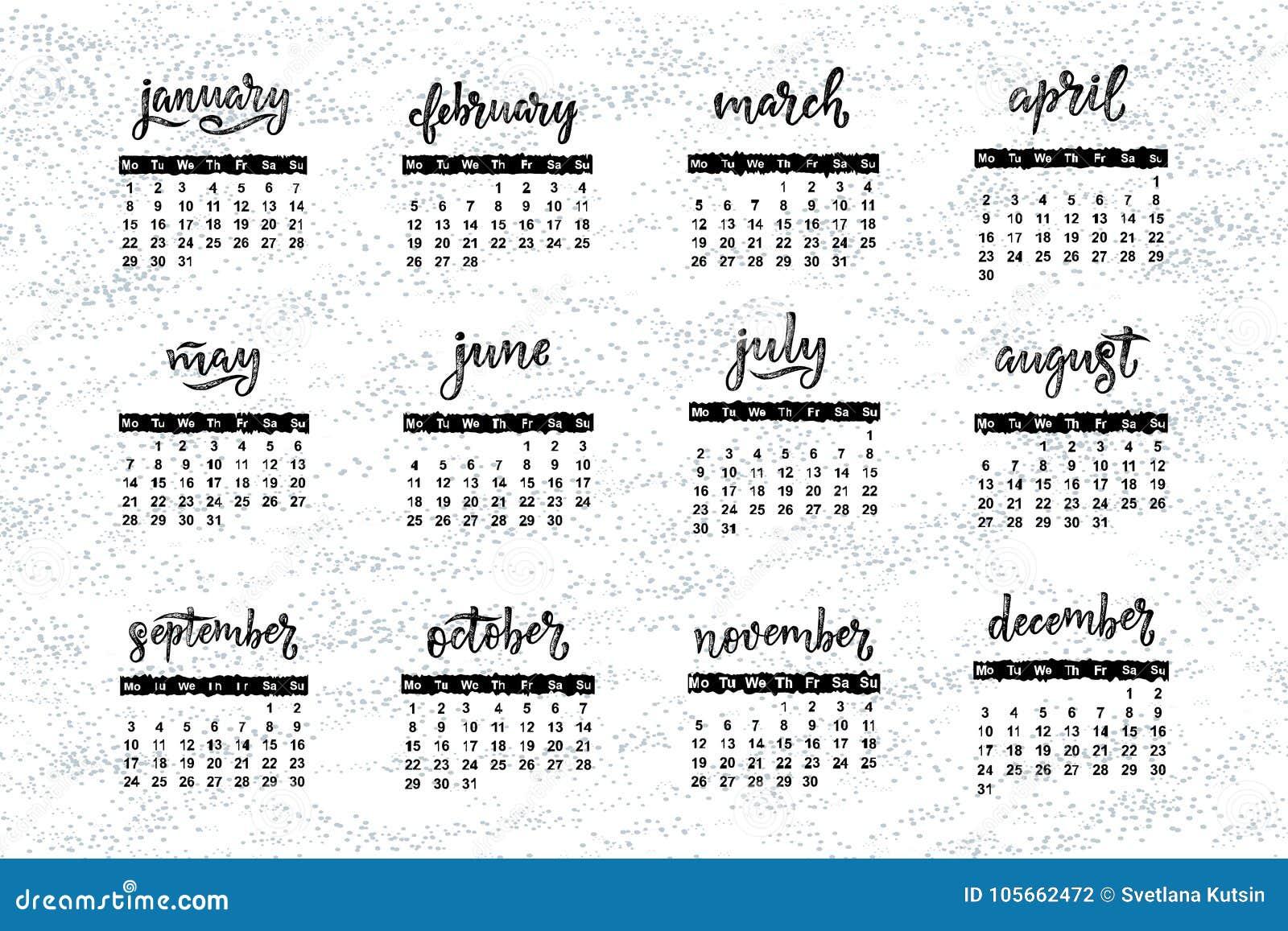 Handwritten names of months December, January, February,