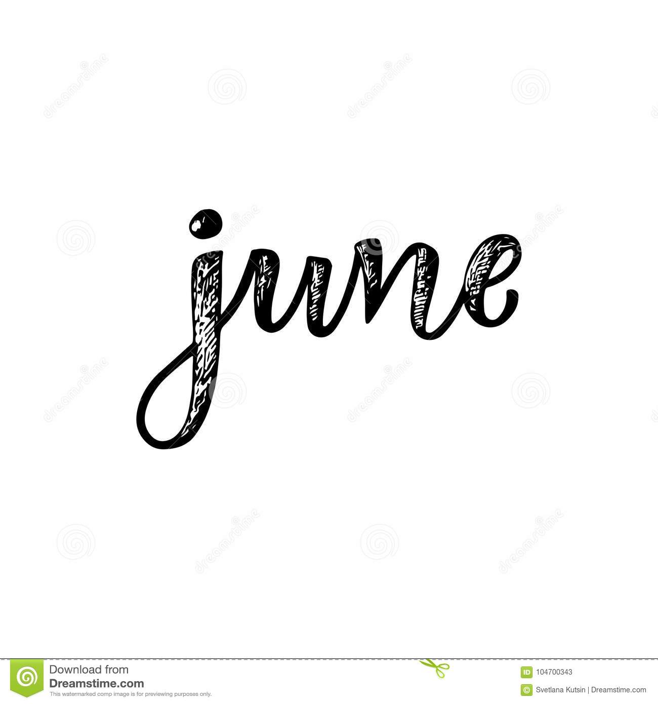 Handwritten names of months june calligraphy words for