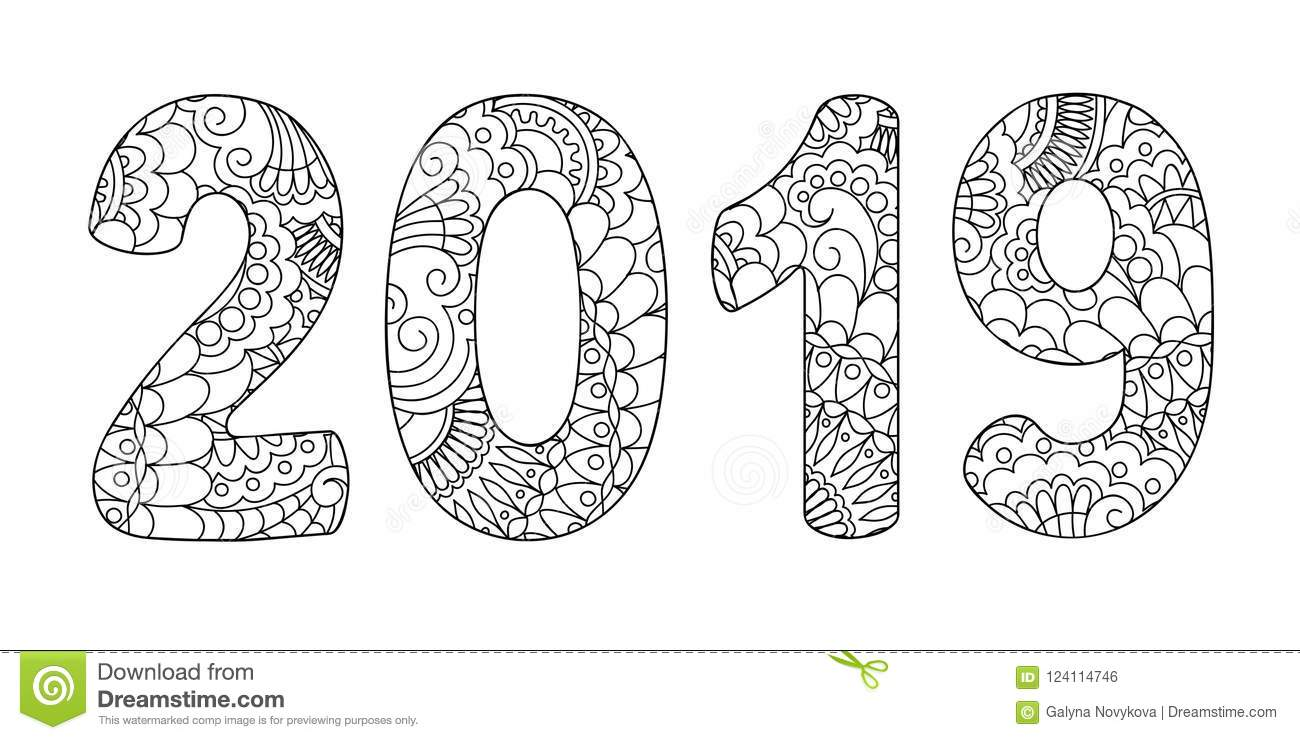 Zen doodle patterned number 2019 middle stock vector - Color for new year 2019 ...