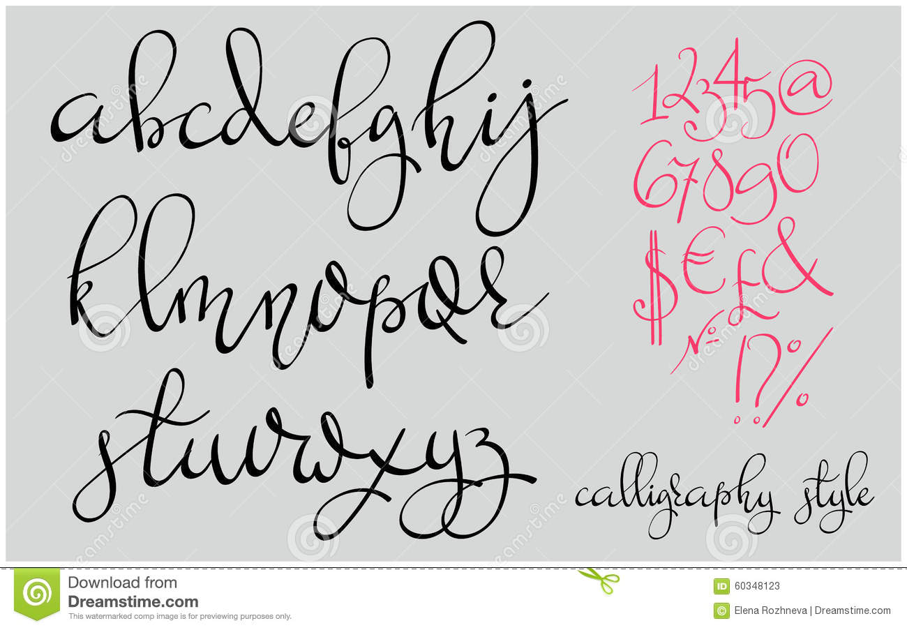 Handwritten Pointed Pen Flourish Font Stock Illustration