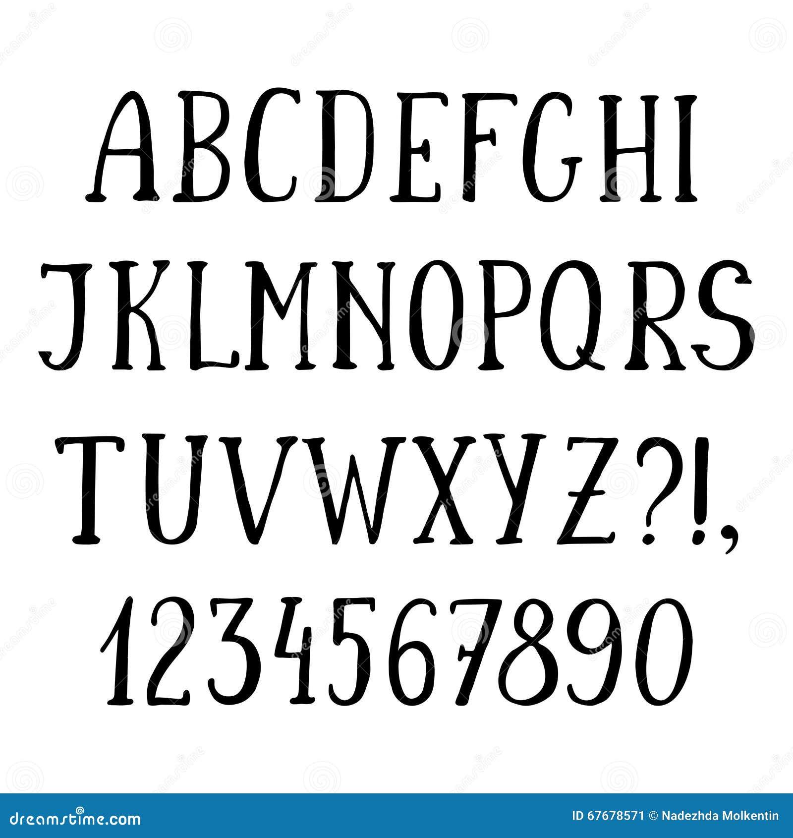 Handwritten simple font, hand drawn sketch alphabet