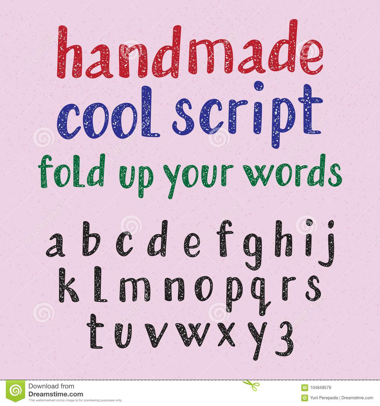 Handwritten Style Cool Typeface English Alphabet Of Grainy Texture Fashion Font Lowercase Letters