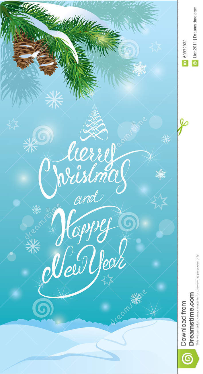 handwritten text merry christmas and happy new year