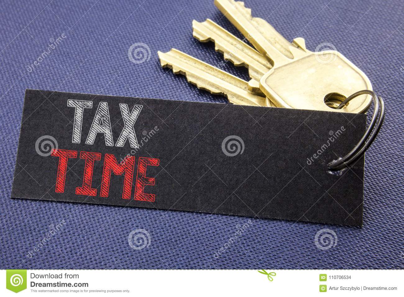 Handwritten text showing Tax Time. Business concept writing for Taxation Finance Reminder Written on note paper attached to the ke