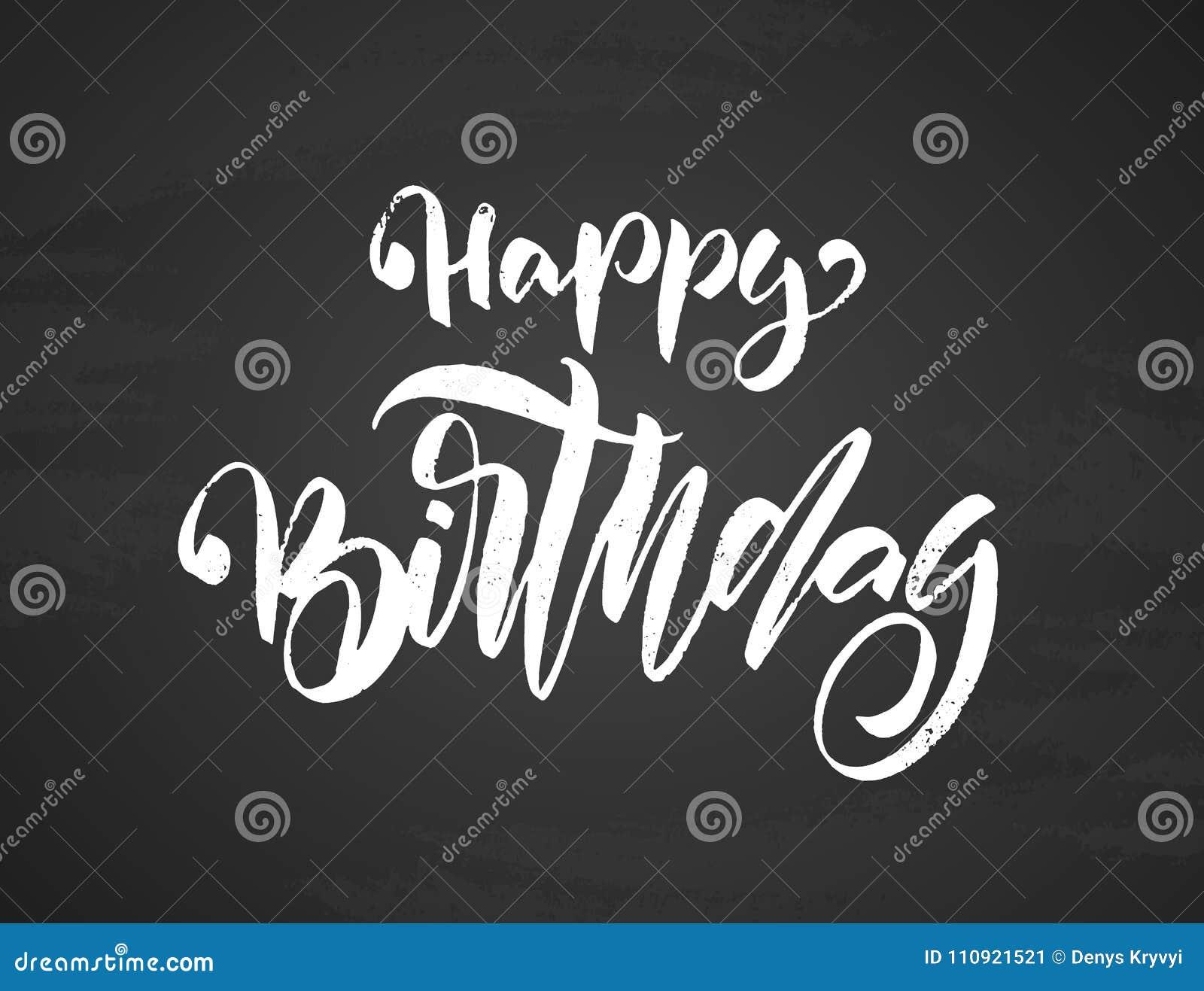 Handwritten Textured Brush Type Lettering Of Happy Birthday On