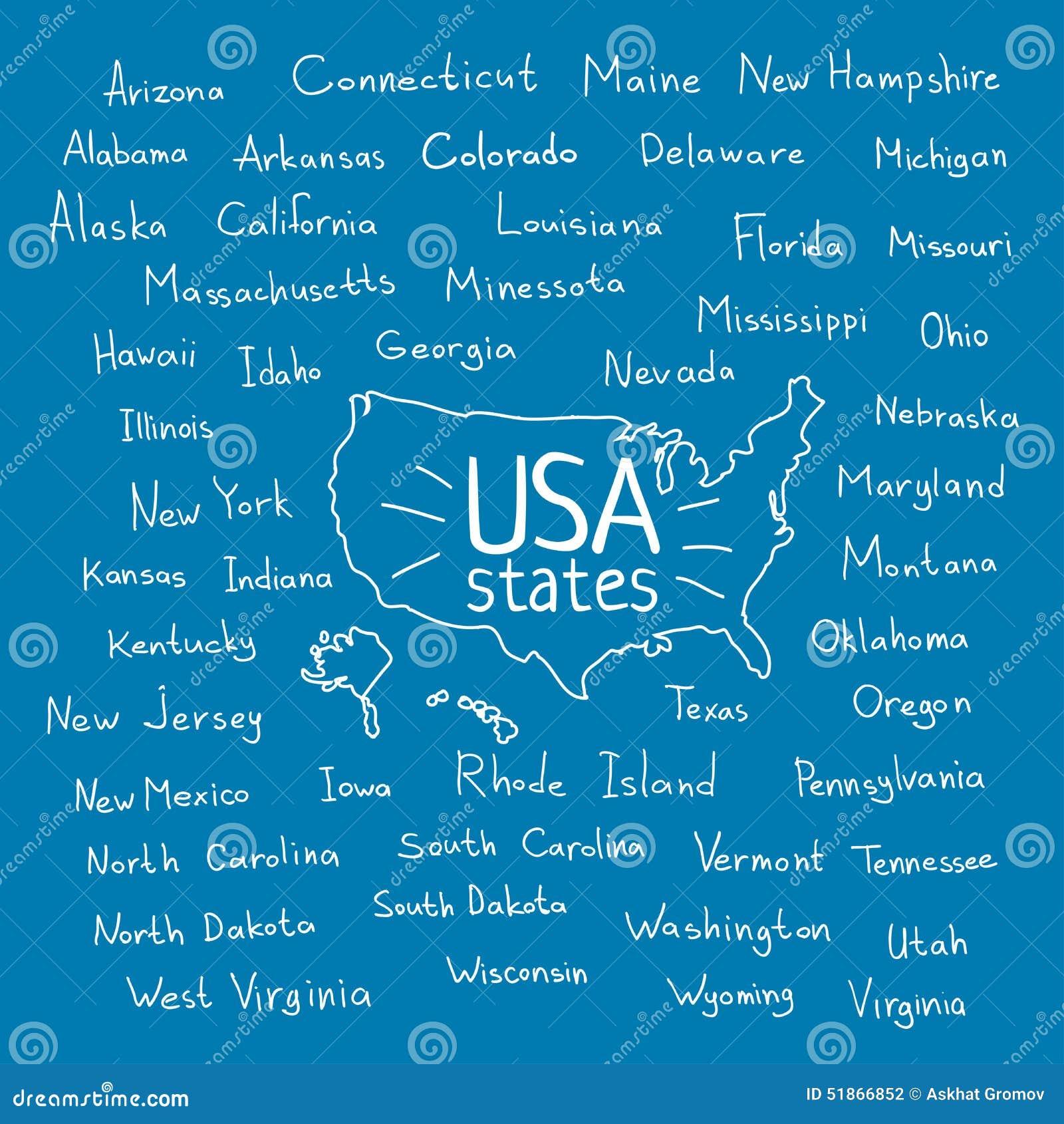 Handwritten USA States Vector Illustration Stock Vector ...