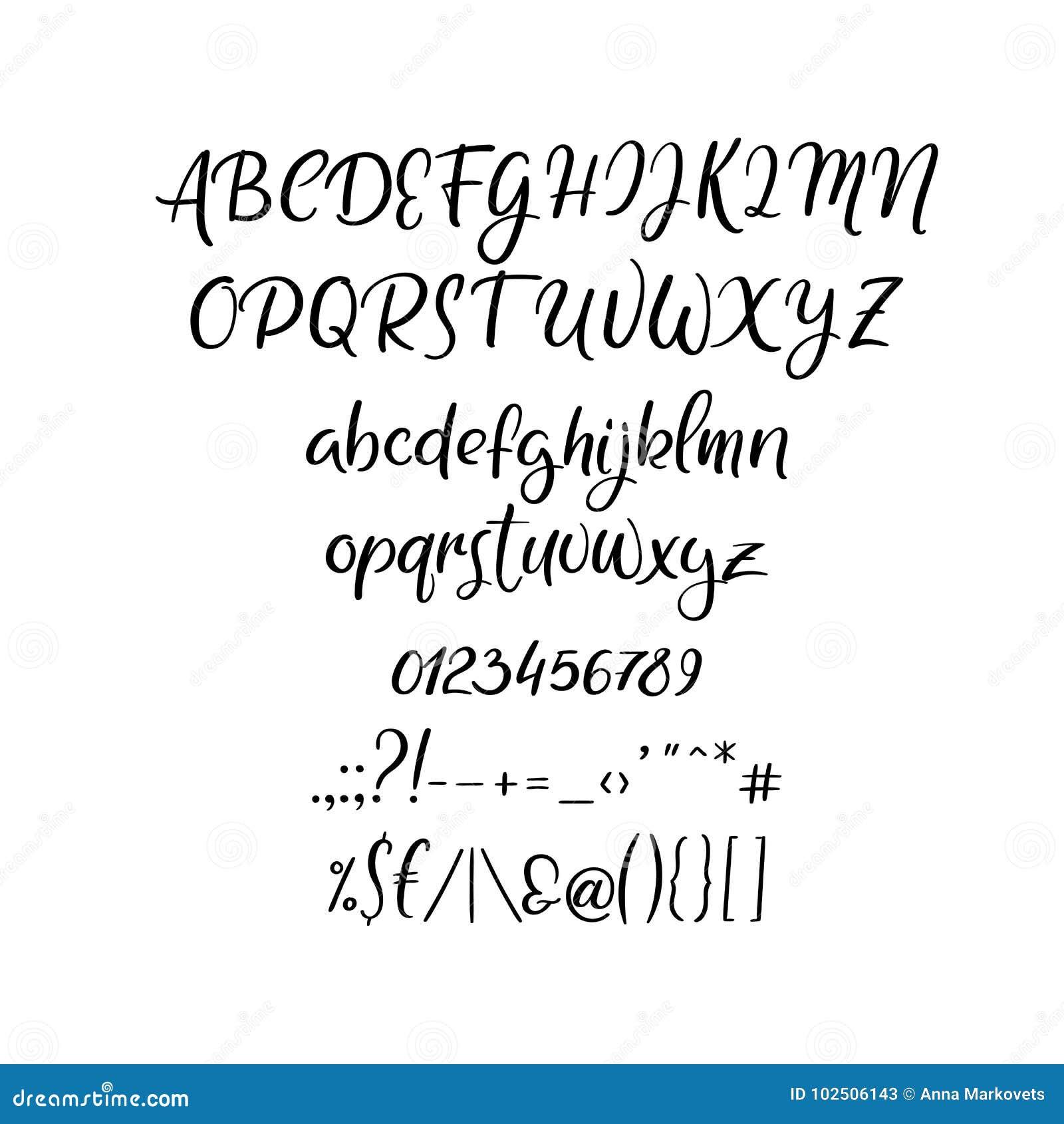 Handwritten Vector Font. Hand Drawn Brush Style Alphabet ...