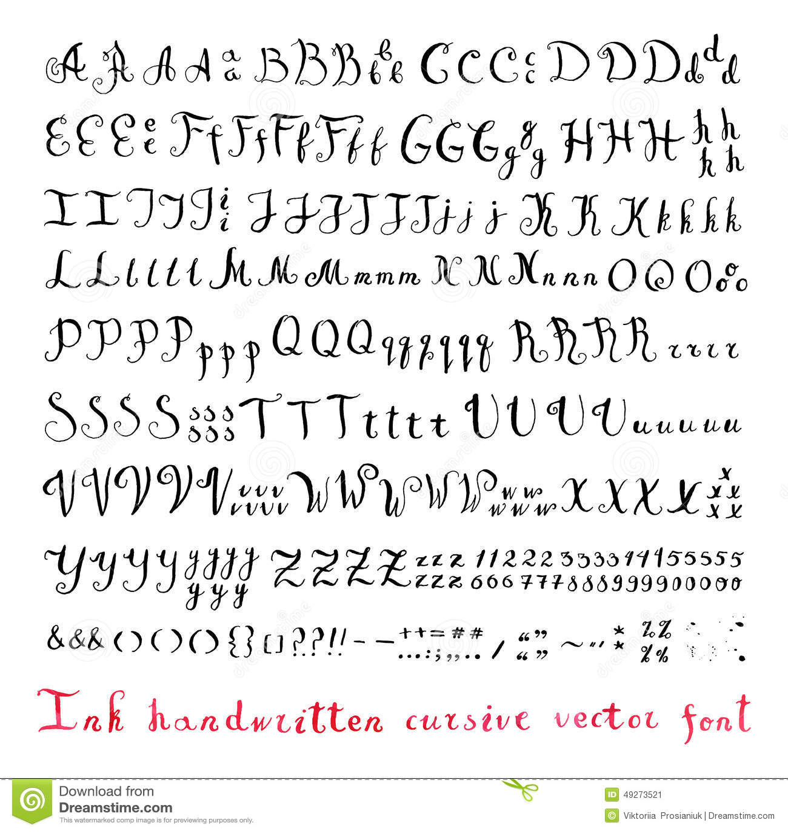 Handwritten Vintage Ink Cursive Vector Alphabet Font