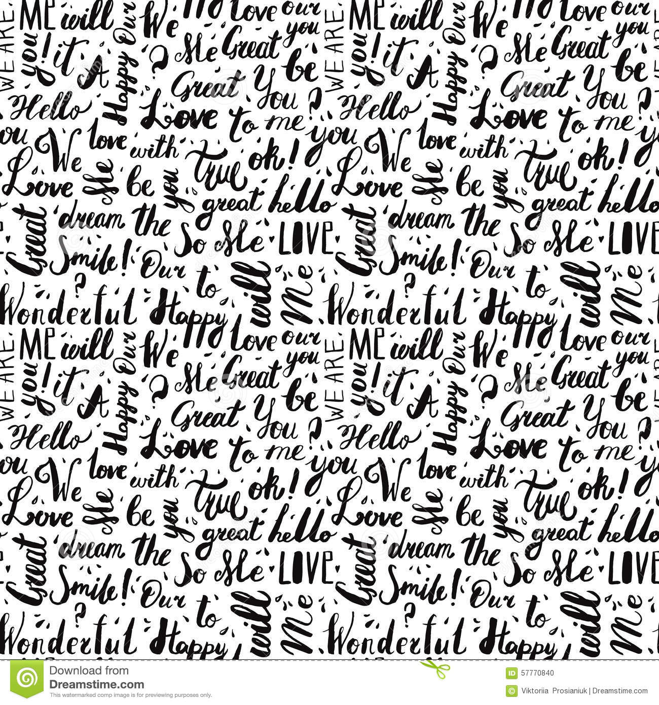 Stock Illustration Handwritten Vintage Ink Words Vector Seamless Pattern Drops Black Letters Lettering Wrapping Paper Design Image57770840 on Handwriting Paper