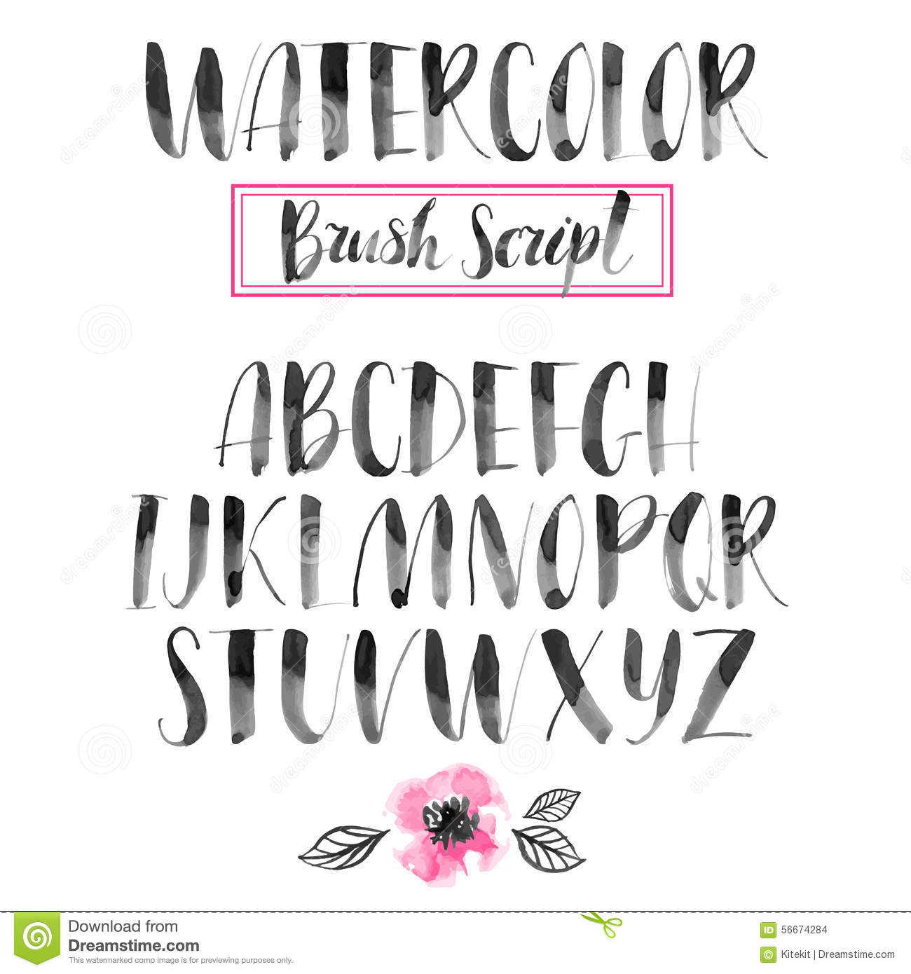 Handwritten Watercolor Calligraphic Font Modern Brush Lettering Illustration 56674284