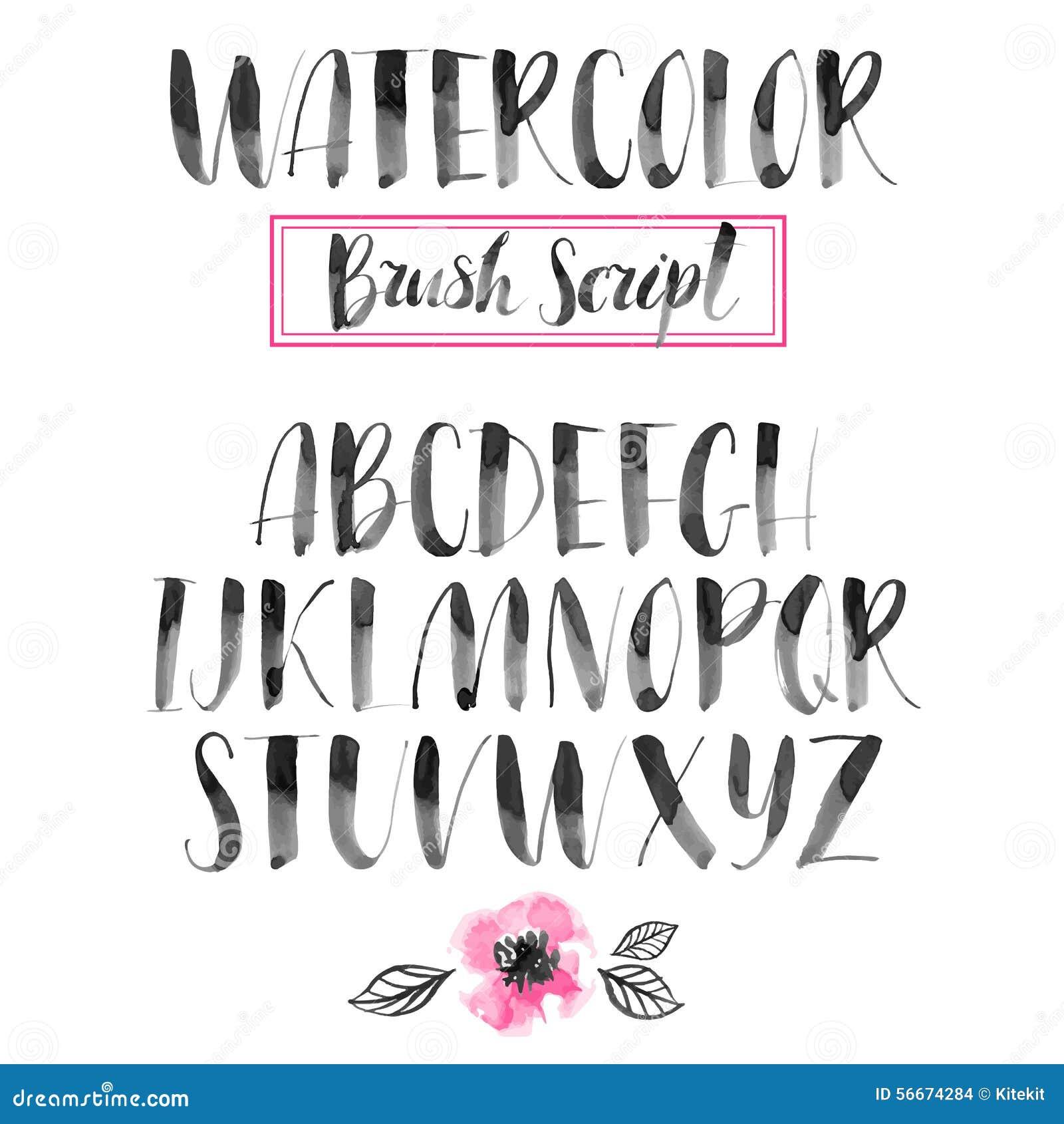 Handwritten watercolor calligraphic font. Modern brush lettering. Hand ...