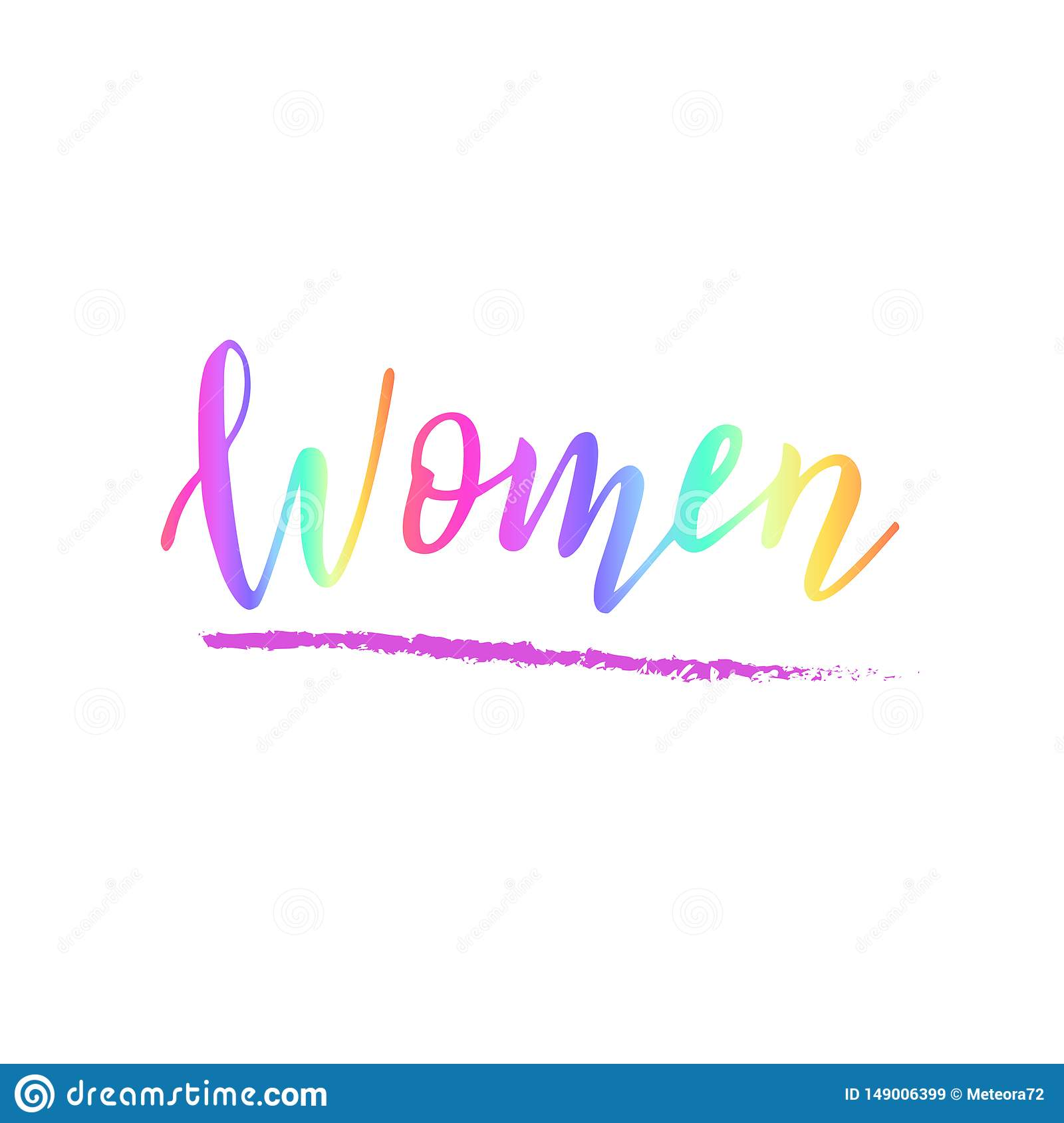 Handwritten women text. Concept of female diversity. Feminist quote. Sticker or clothes print.