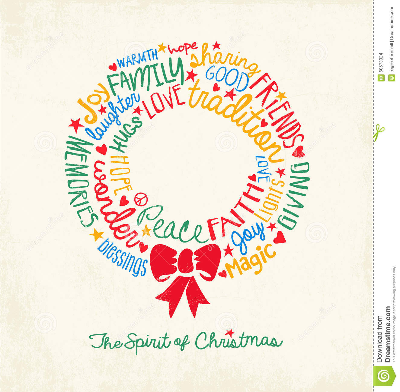 handwritten word cloud christmas wreath holiday greeting card stock vector image 60573024
