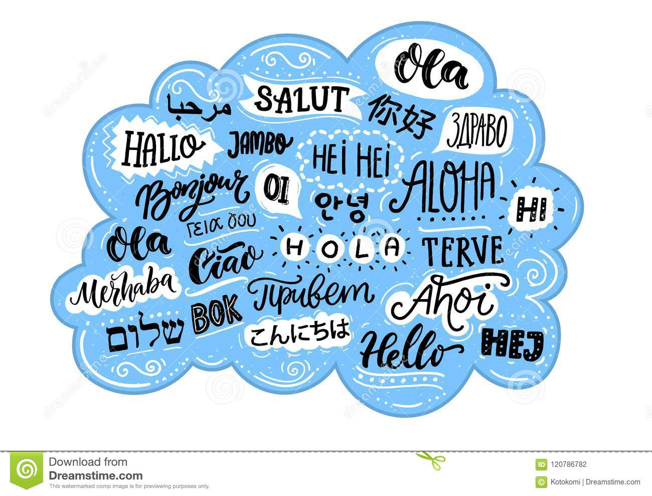 Handwritten Word Hello In Different Languages French Bonjur And