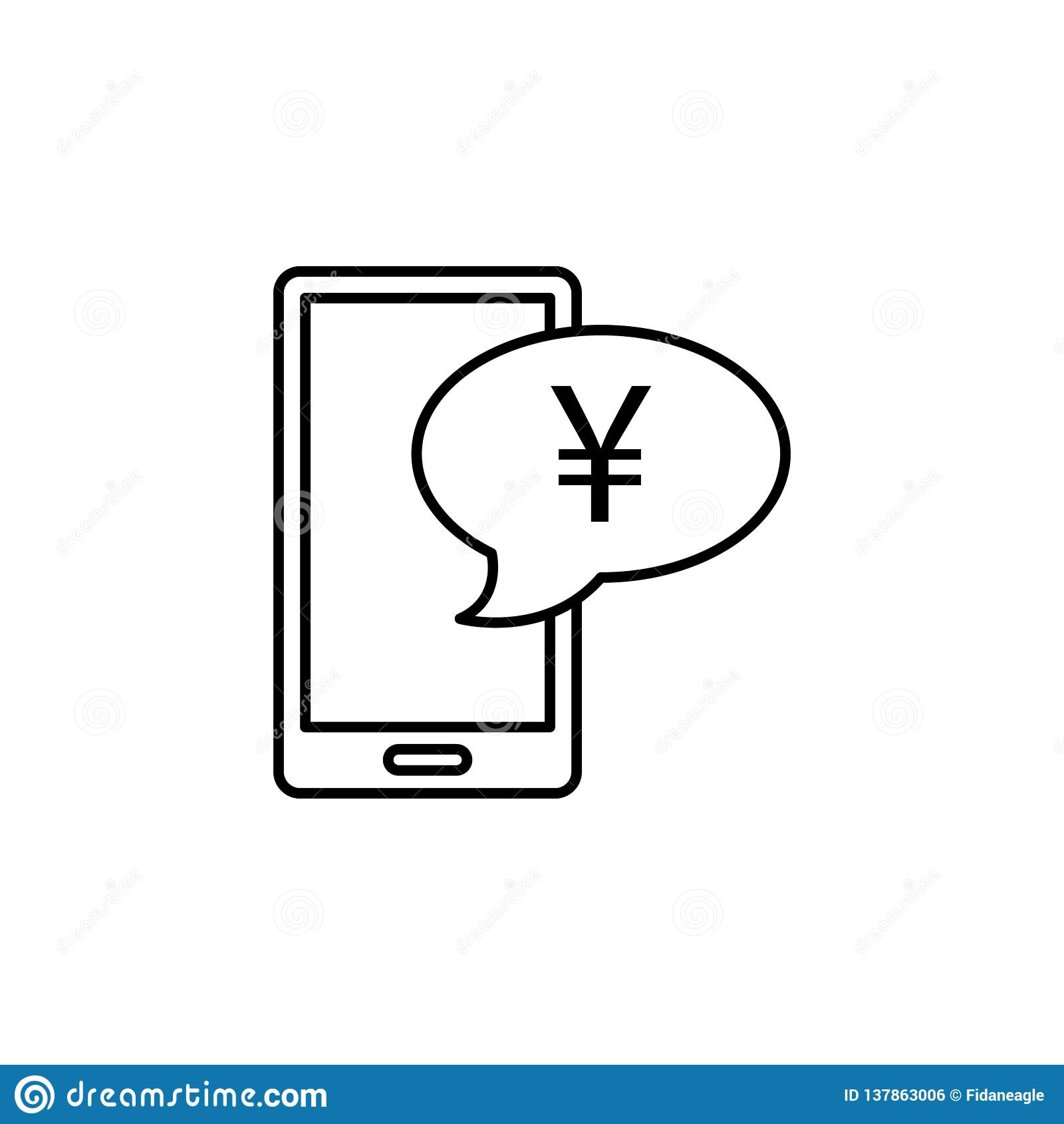 Handy, Blase, Yuanikone Element der Finanzillustration Zeichen und Symbolikone können für Netz, Logo, mobiler App, UI benutzt wer