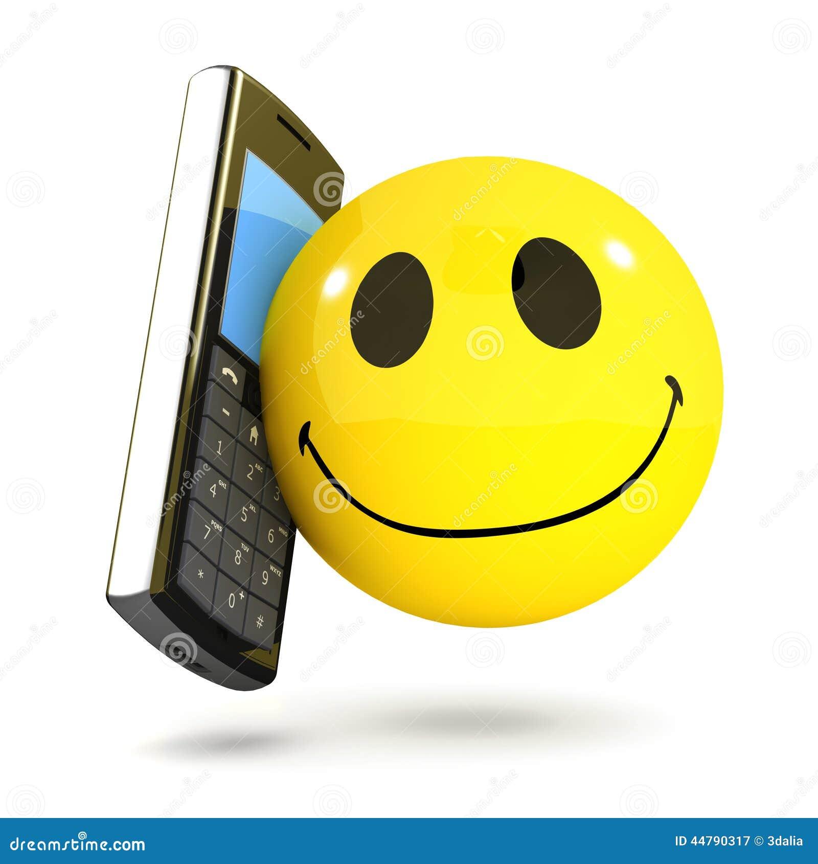 Handy des smiley 3d stock abbildung. Illustration von