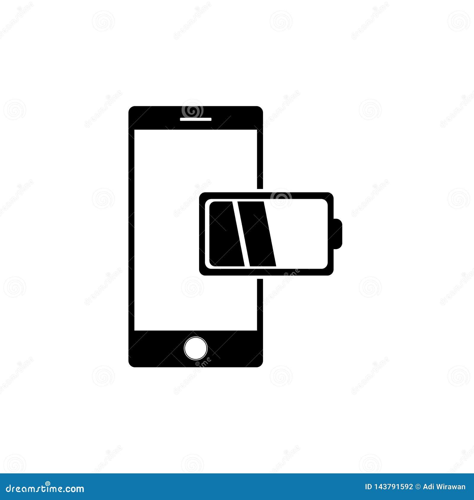 Handy mit Berichts-Ikonenvektor der schwachen Batterie in der modernen flachen Art