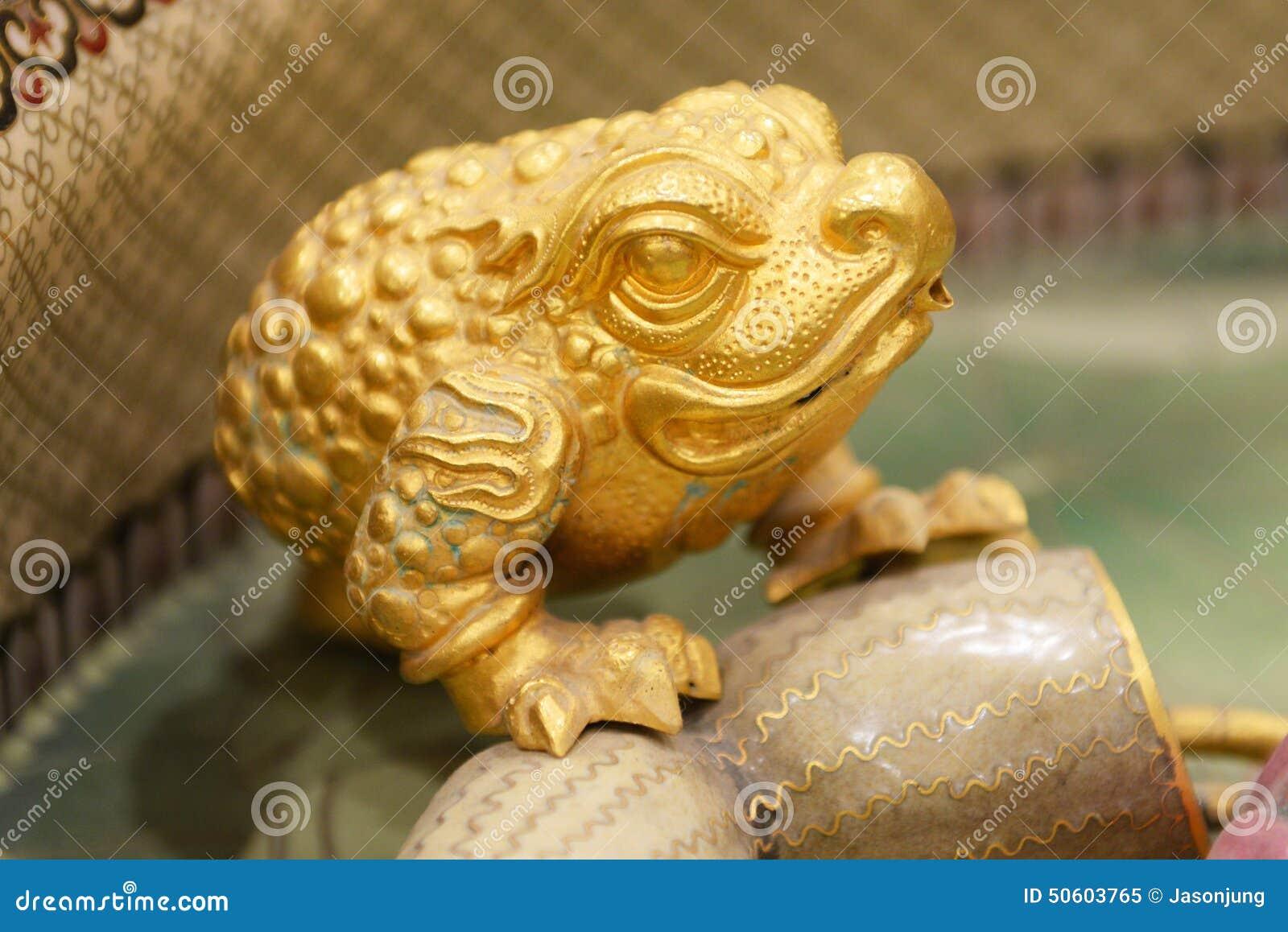 handycraft of golden toad stock image image of factory 50603765