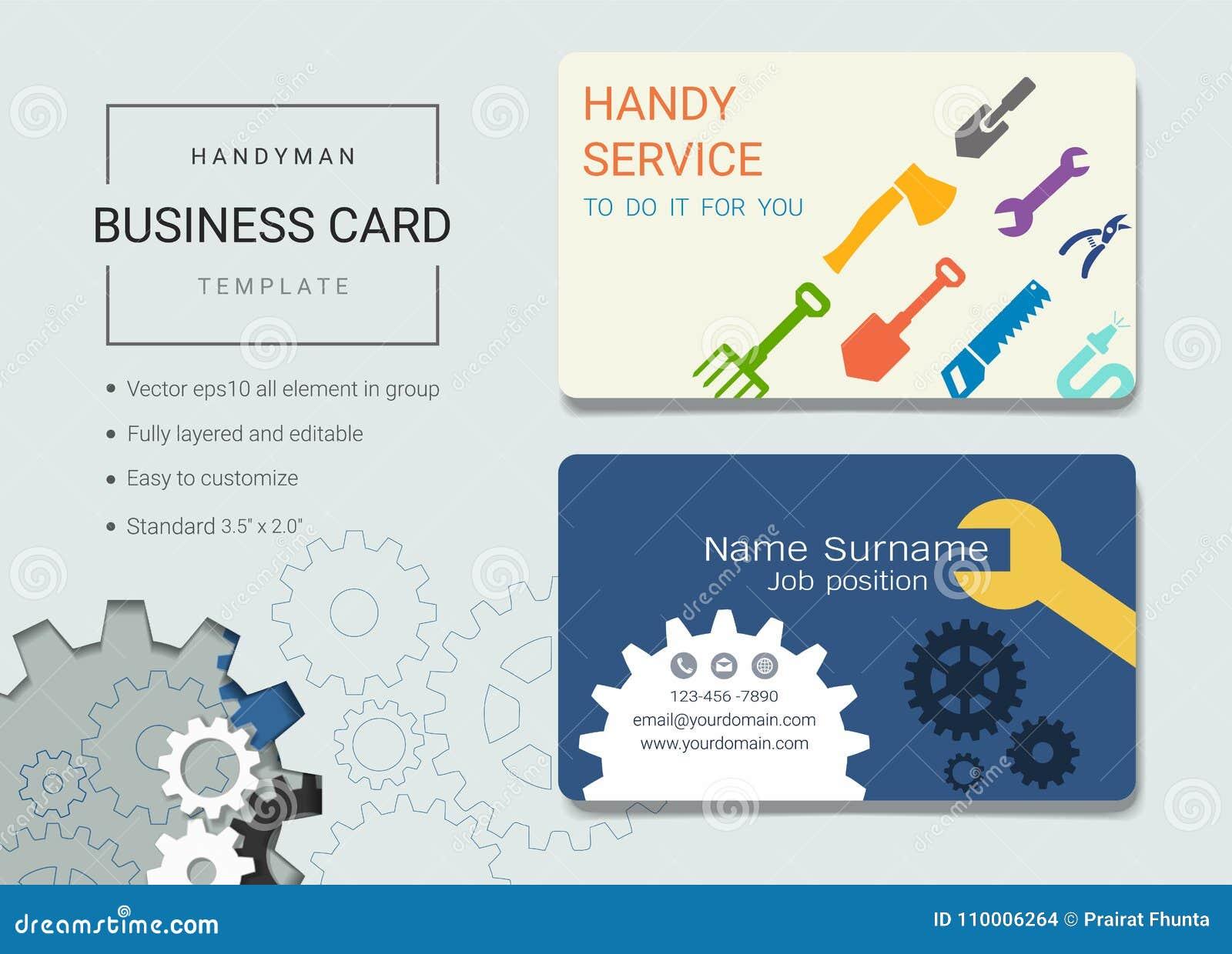 handyman business card or name card template stock vector