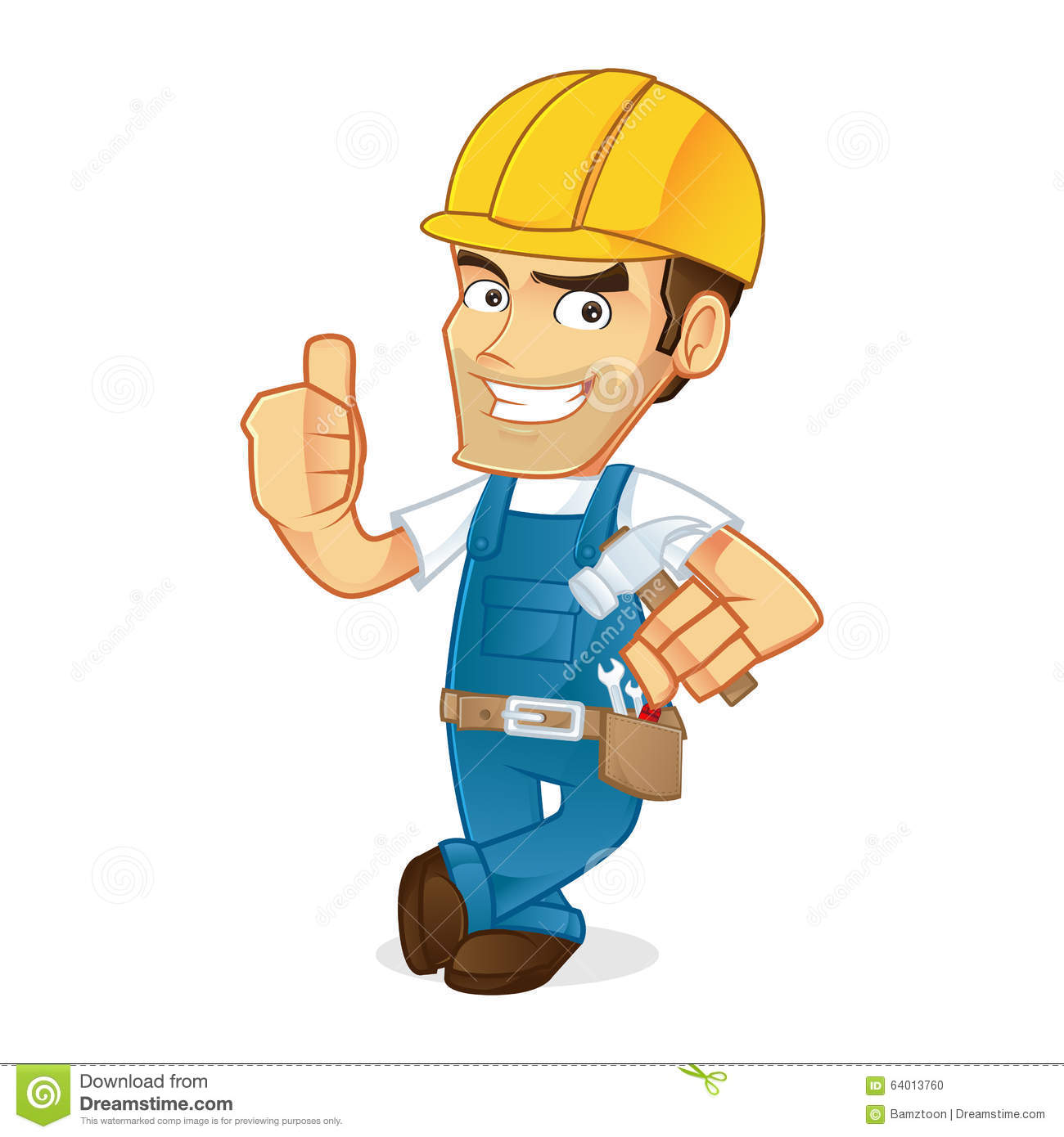 Handyman Leaning And Giving Thumb Up Stock Vector