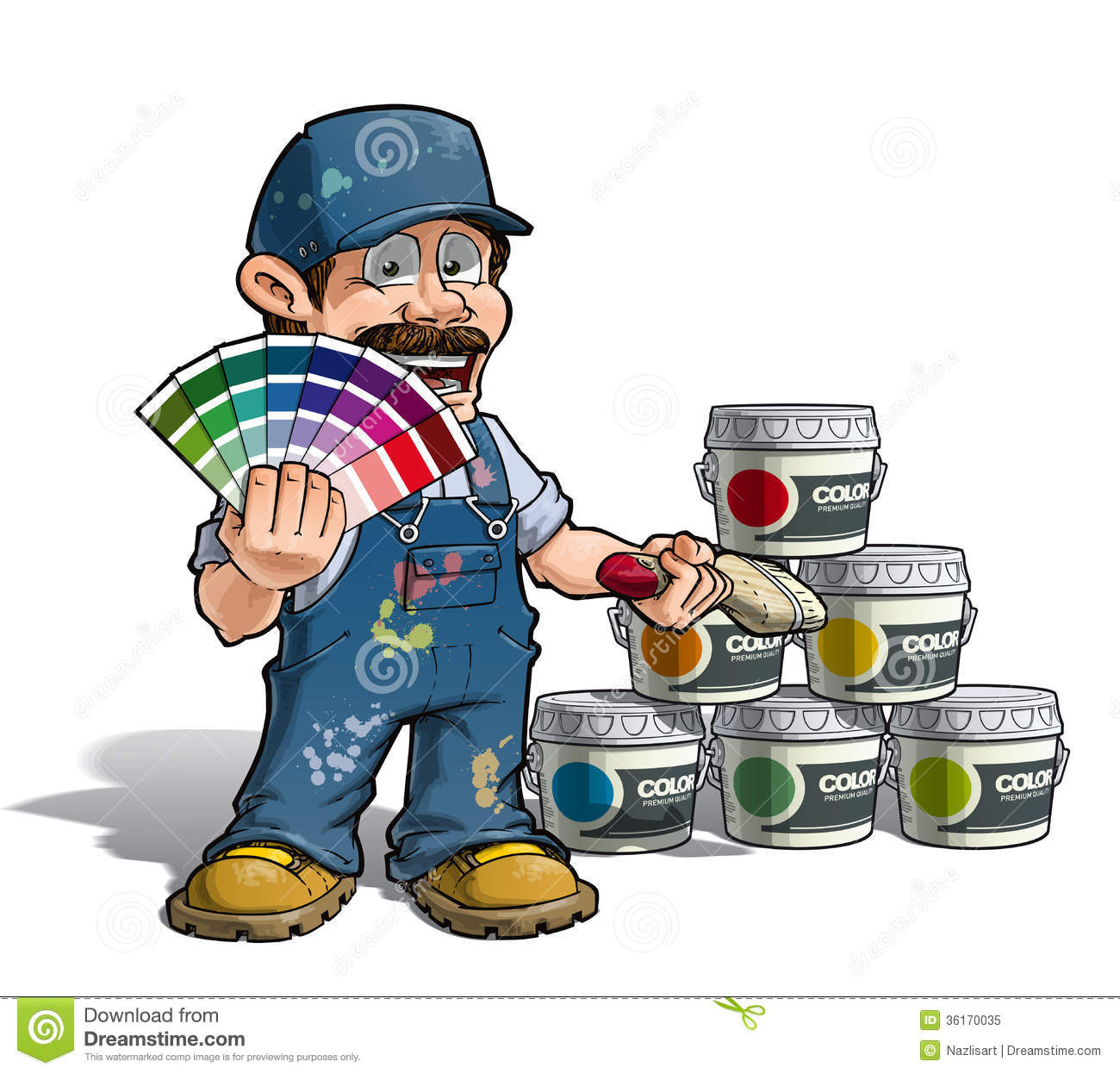 Painter And Decorator Prices >> Handyman - Colour Picking Painter Blue Uniform Royalty Free Stock Photo - Image: 36170035