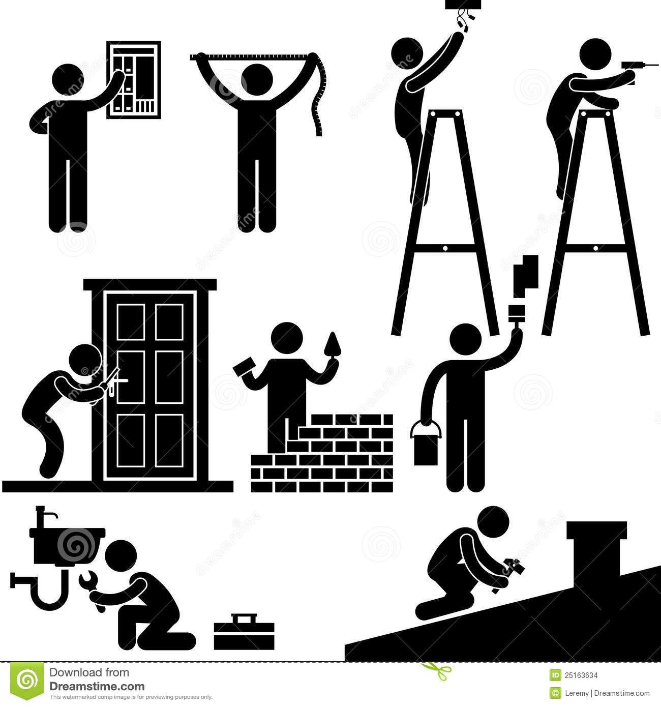 handyman electrician working fixing repair stock vector