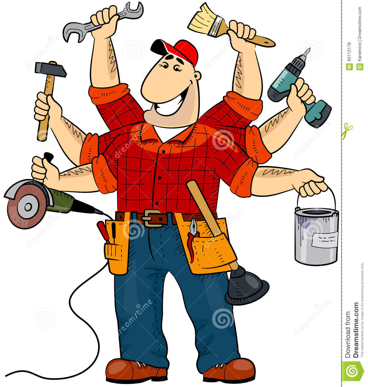 Cartoon Character Design Tool : Handyman stock vector image