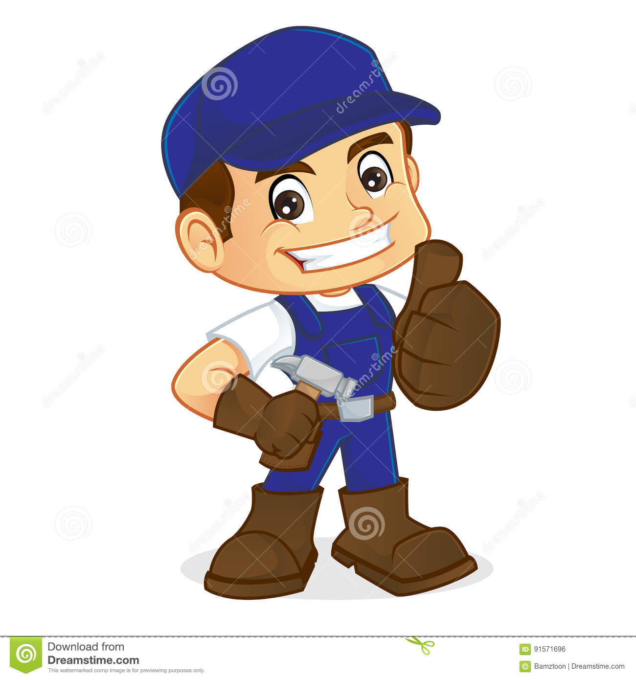 Handyman Holding Hammer And Giving Thumb Up Stock Vector