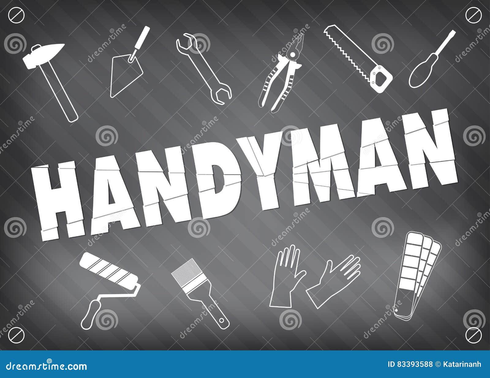 Handyman Service Logo In Grey Set Of Repair Tools