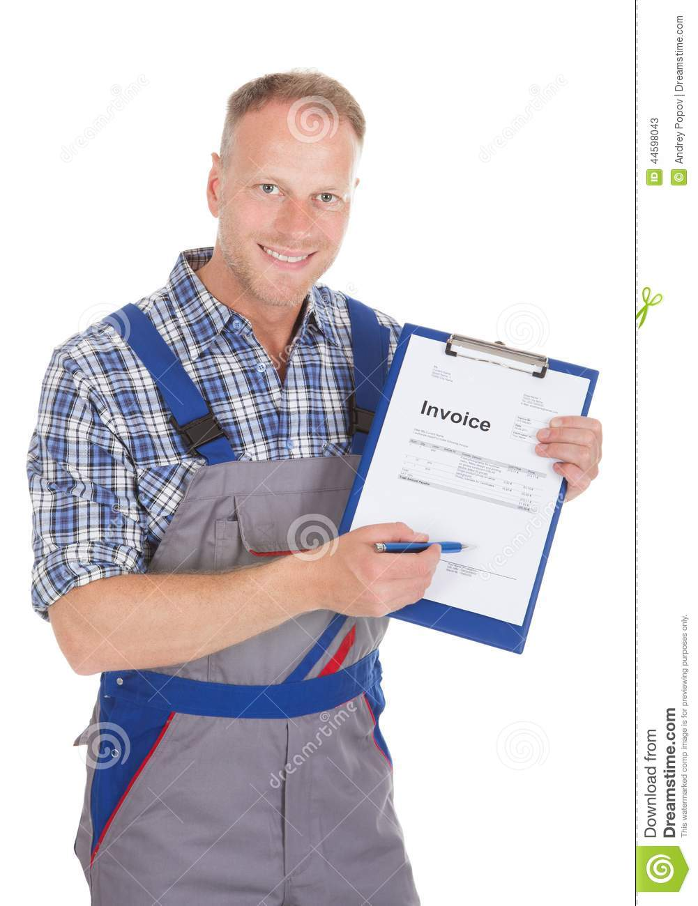 handyman showing invoice on clipboard stock photo image 44598043 handyman showing invoice on clipboard