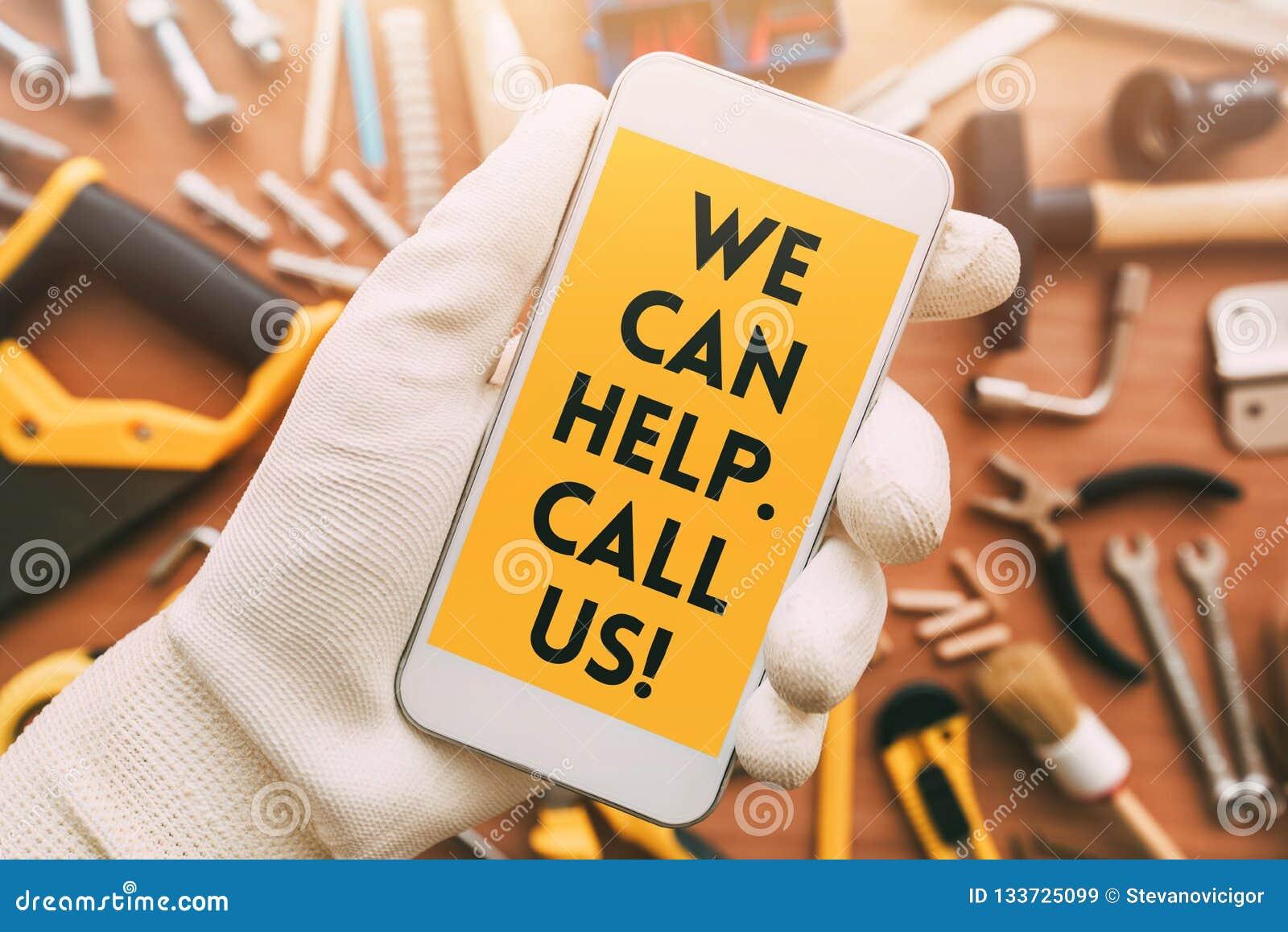 Handyman Smart Phone App Contact Message Stock Image - Image