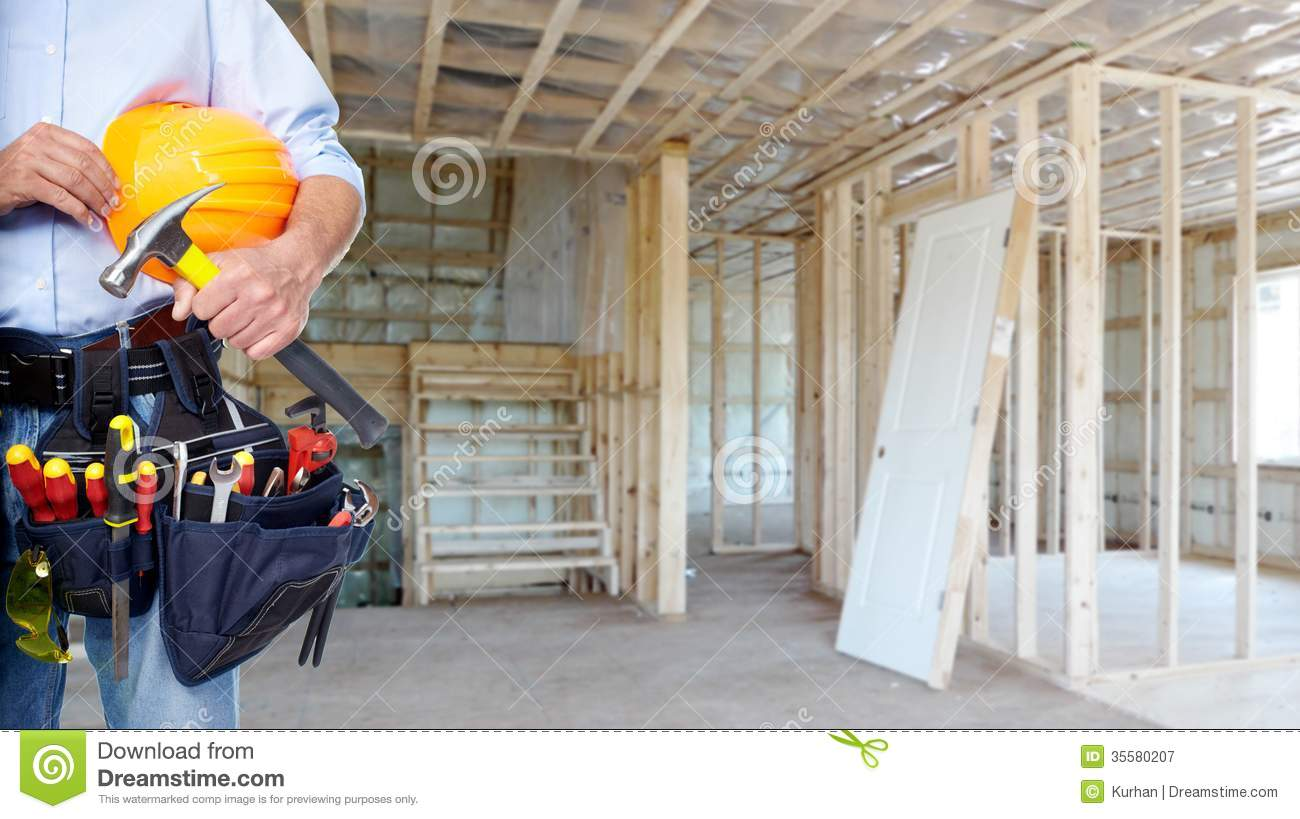 Handyman with a tool belt royalty free stock photography for House renovation services
