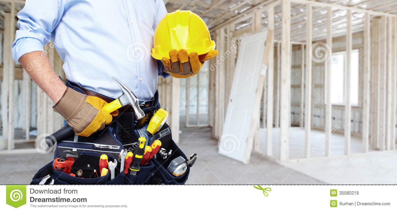 Handyman with a tool belt royalty free stock images for House renovation services