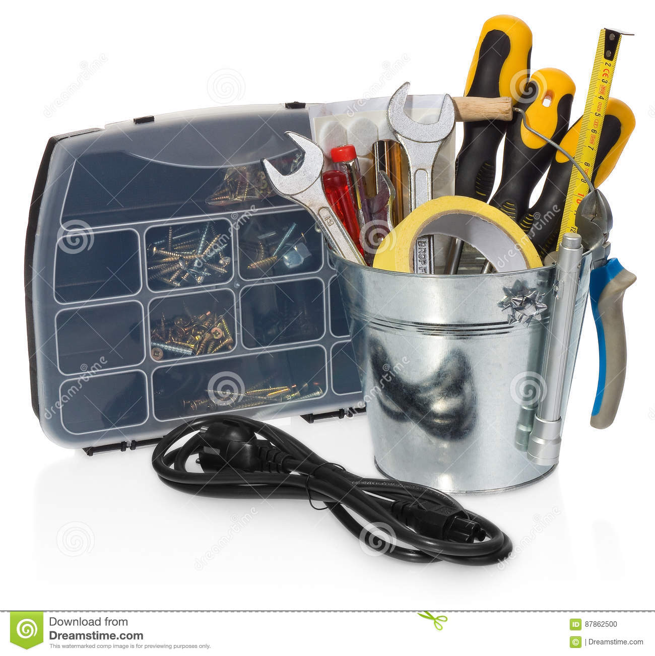 Handyman Tool Set: Screwdrivers, Wrenches, Tape, Pliers, Measuring