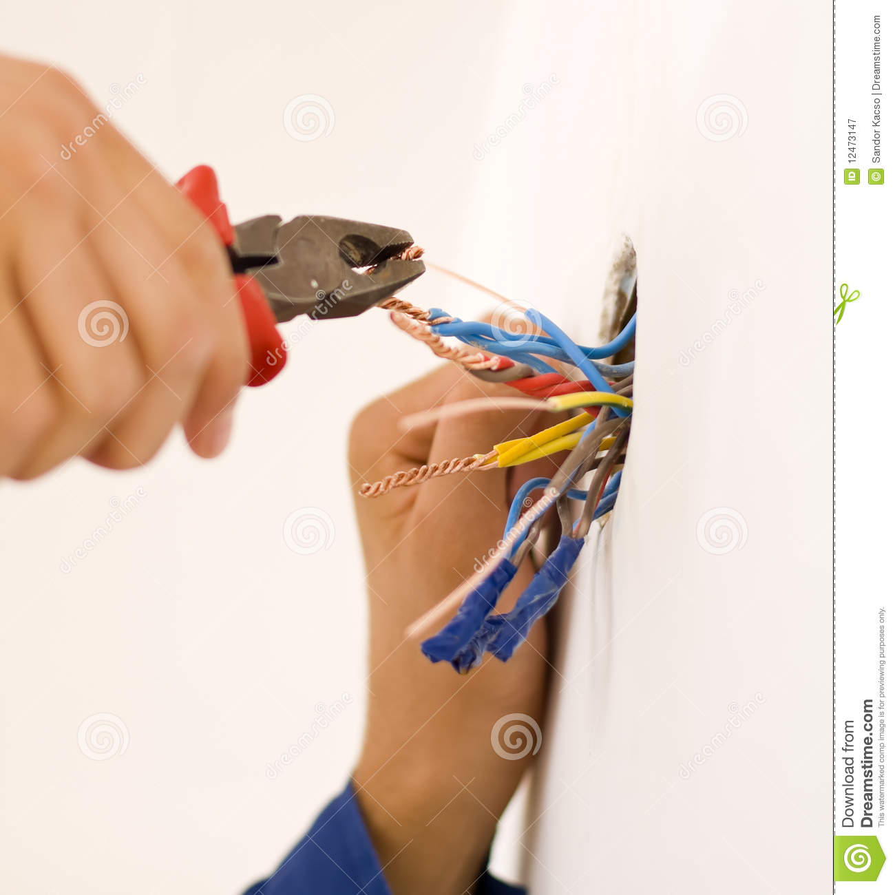Handyman Working Closeup Stock Image Of Electric 12473147 Copper Electrical Wire Ductor Pvc Insulated An Electrician Binding Wires Together And Sealing Them With Insulation Stripe