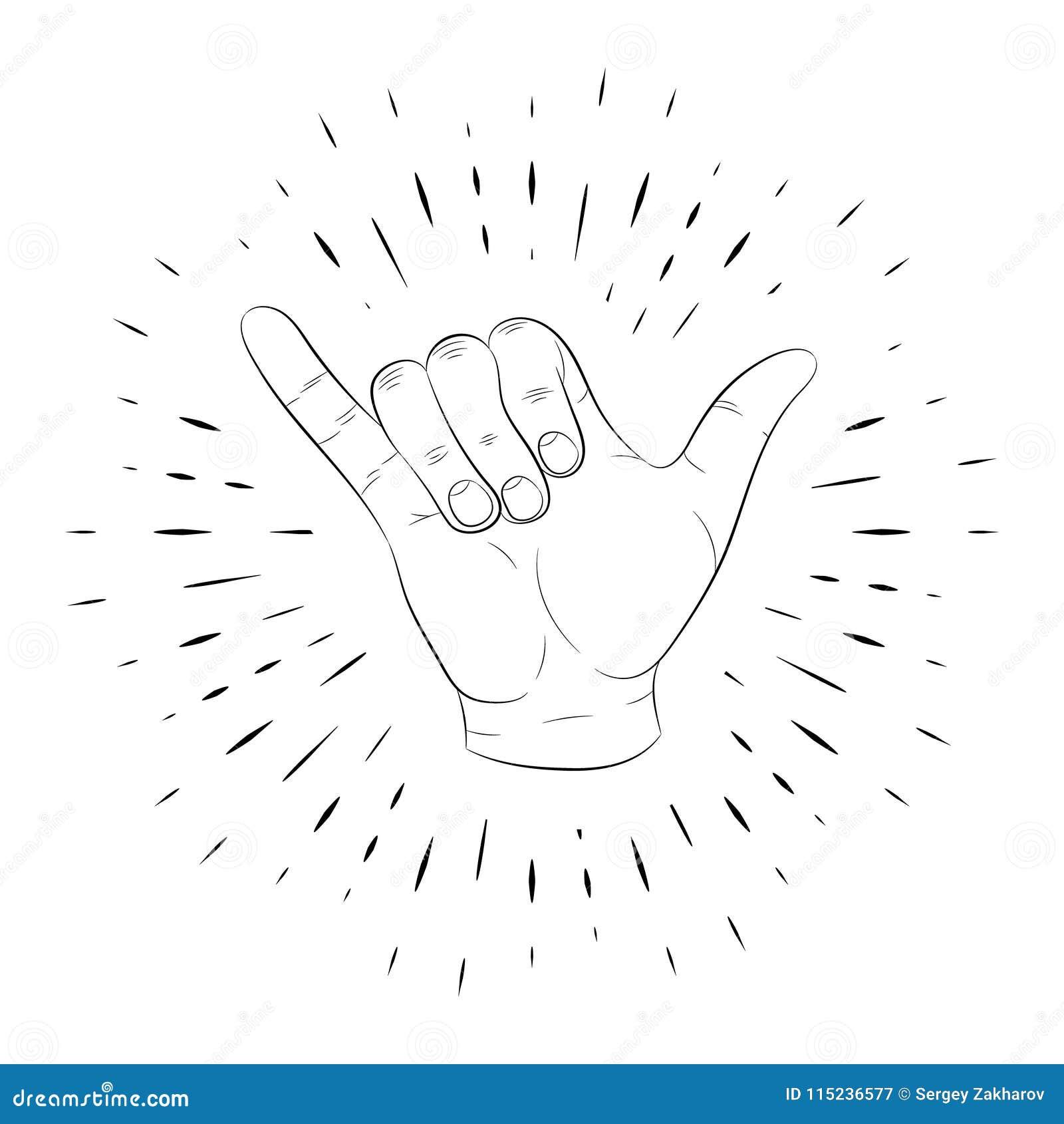 Handzeichen daumen kleiner finger
