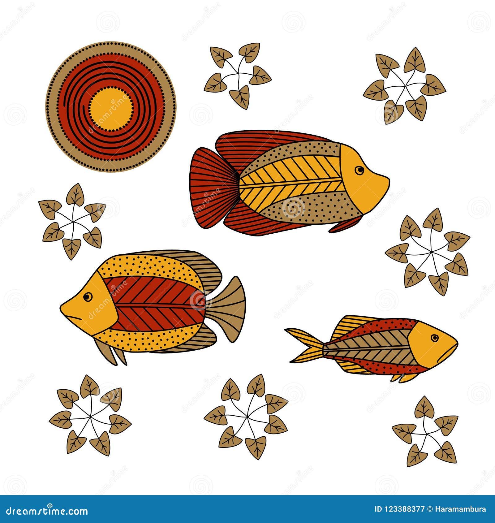 Handzeichnung - Fische, Meerespflanze
