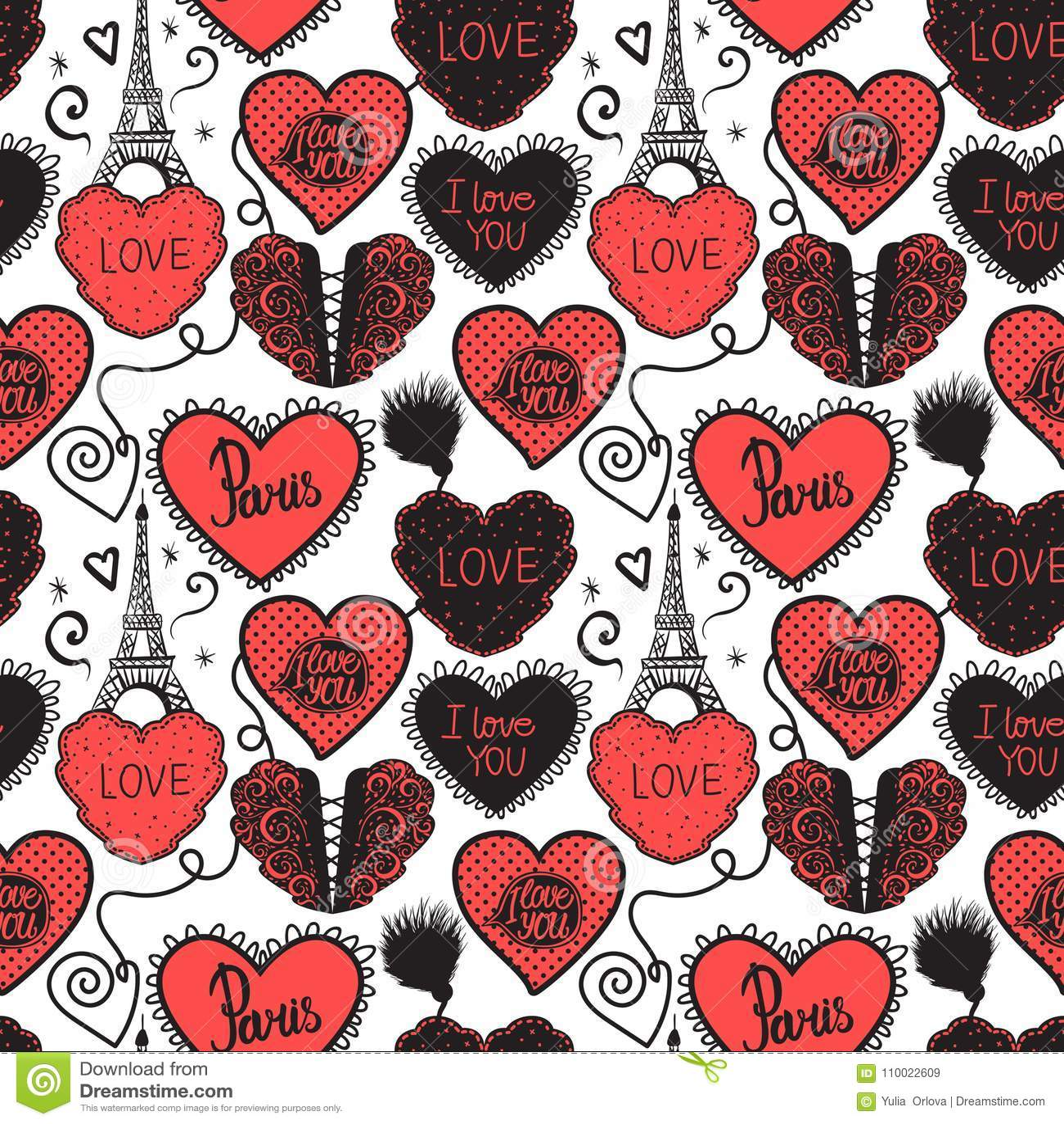 Handzeichnung Liebe in Paris Senken Sie Wäsche und den Eiffelturm Nahtloses Musterrot lokalisiert auf weißem Hintergrund