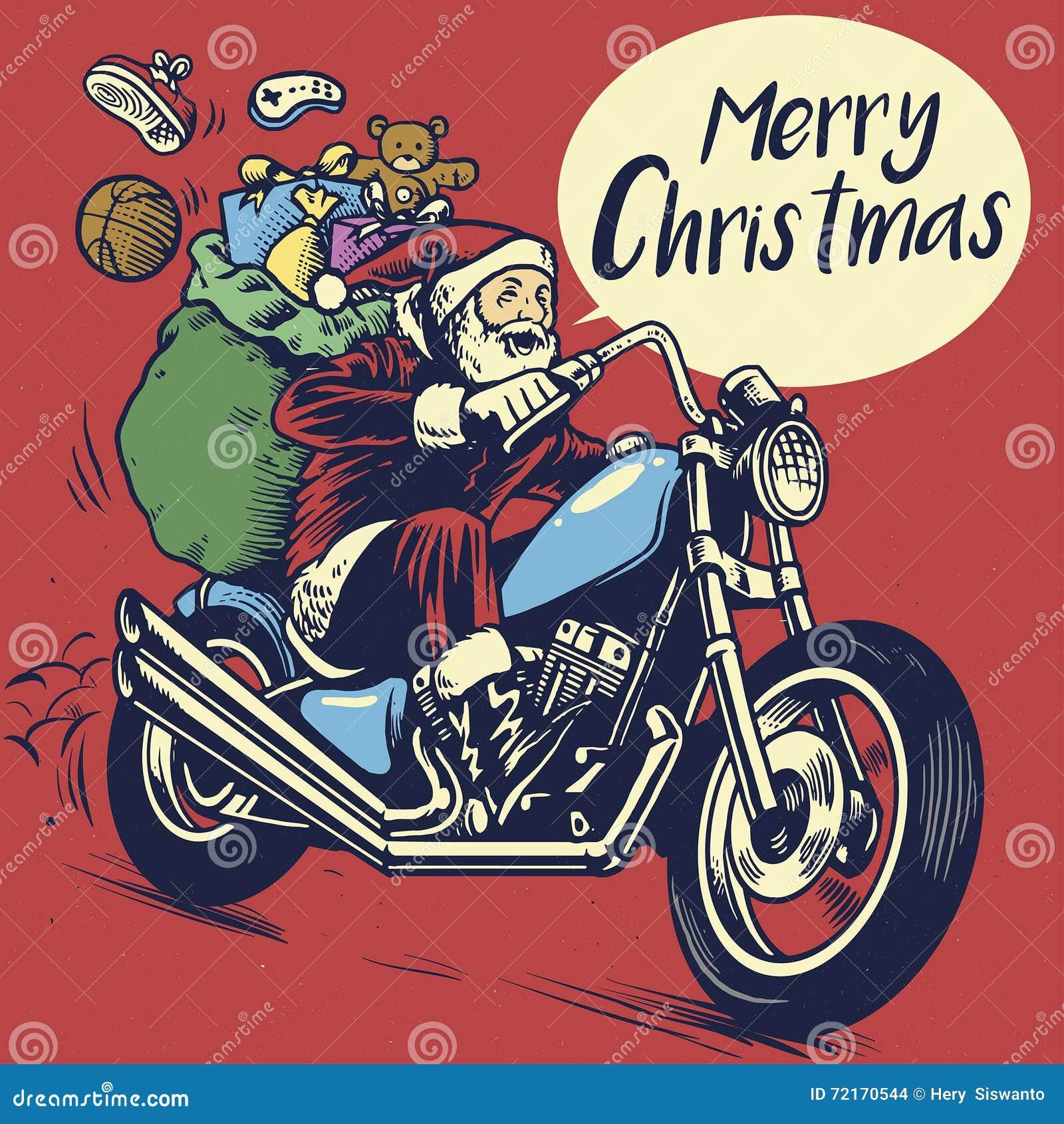 handzeichnungsart von weihnachtsmann fahrt ein motorrad. Black Bedroom Furniture Sets. Home Design Ideas