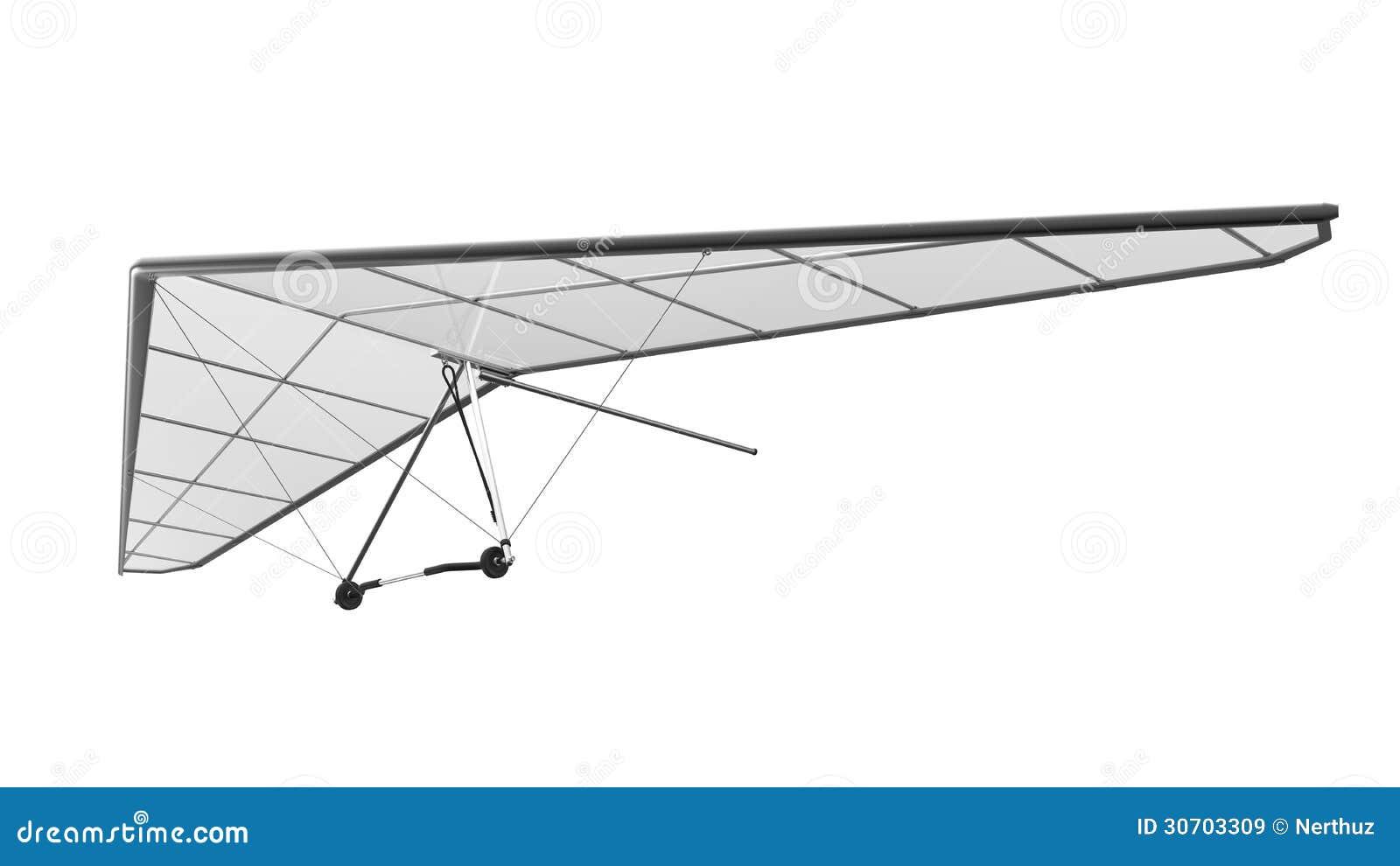Hang Glider Isolated på vit bakgrund