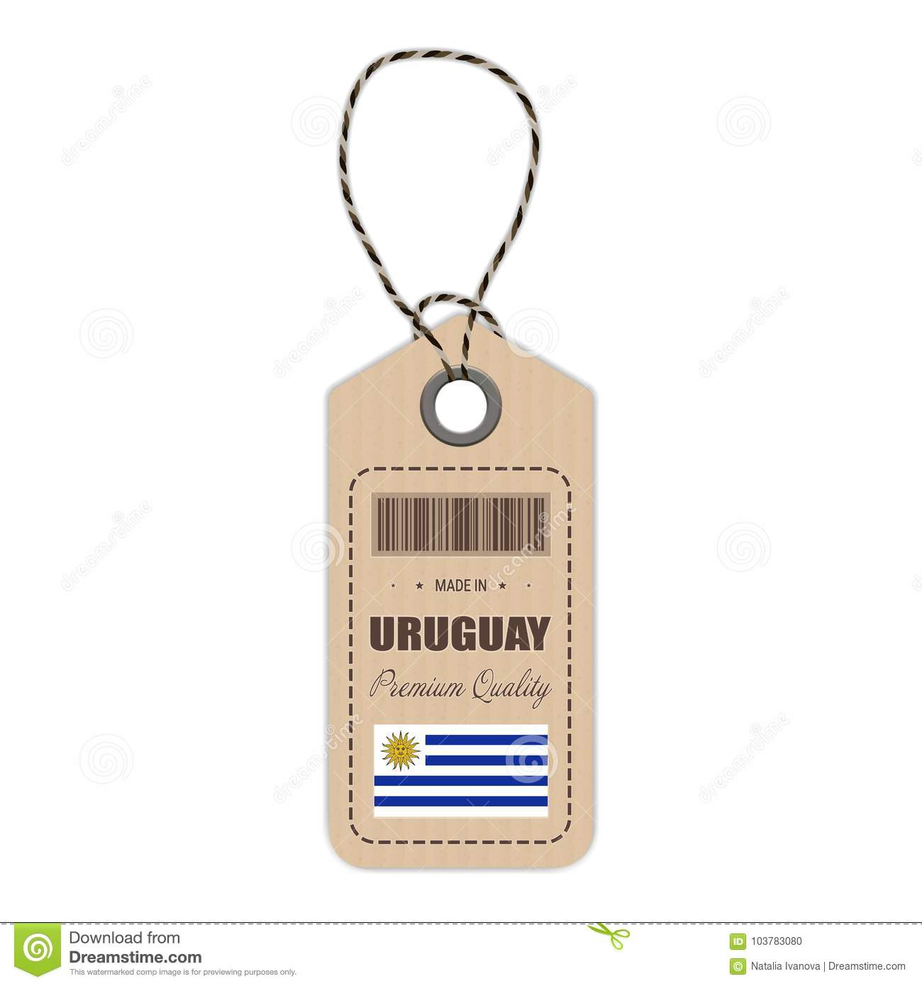 Hang Tag Made In Uruguay With Flag Icon Isolated On A White Background. Vector Illustration.