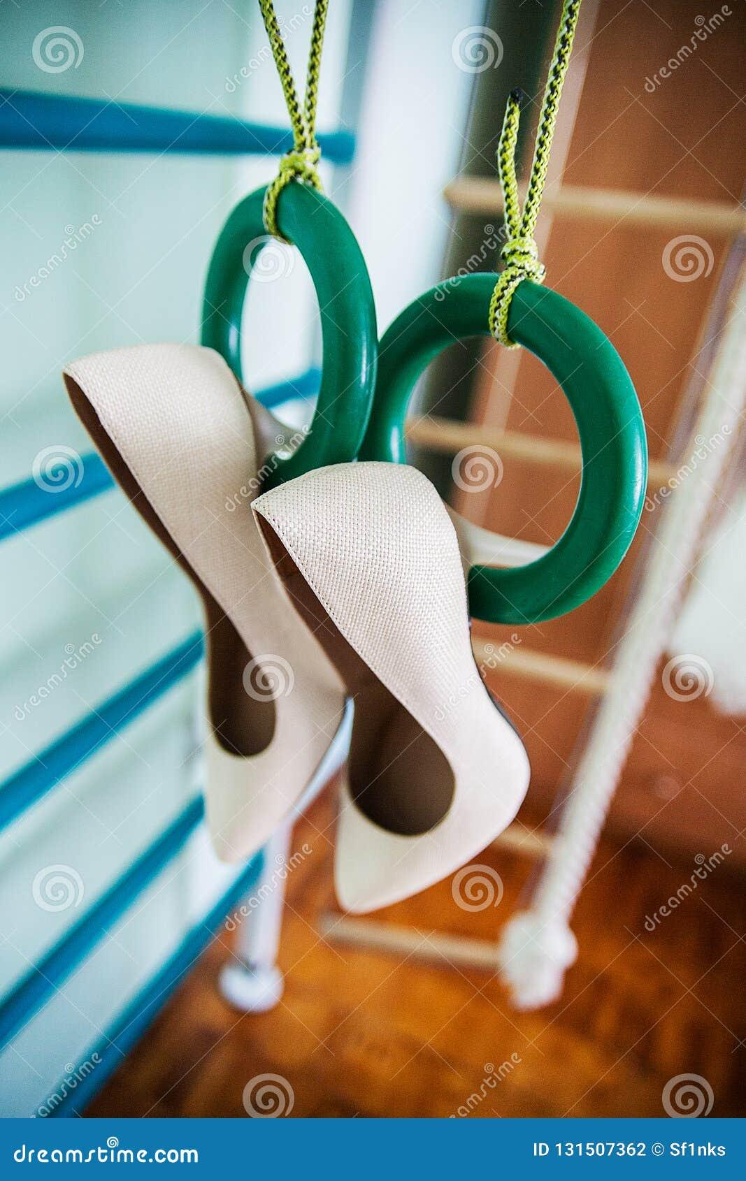 Hang wedding beautiful white shoes