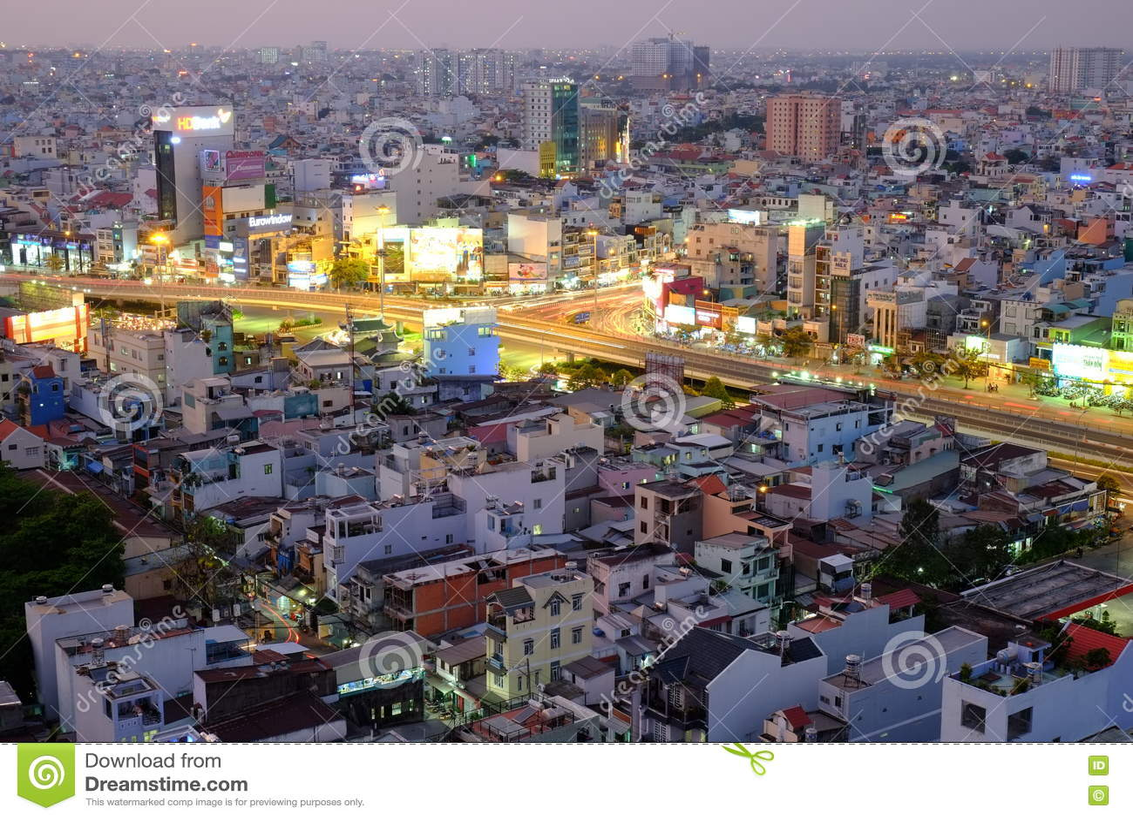 Hang Xanh intersection flyover in twilight, Ho Chi Minh city, Vietnam