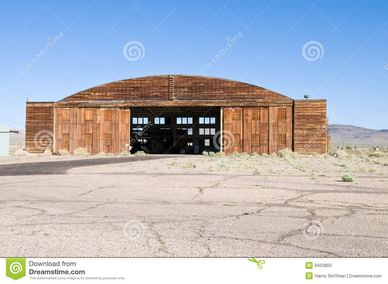 Wooden hangar for aircraft, Tonopah Airport, Tonopah, Nevada.