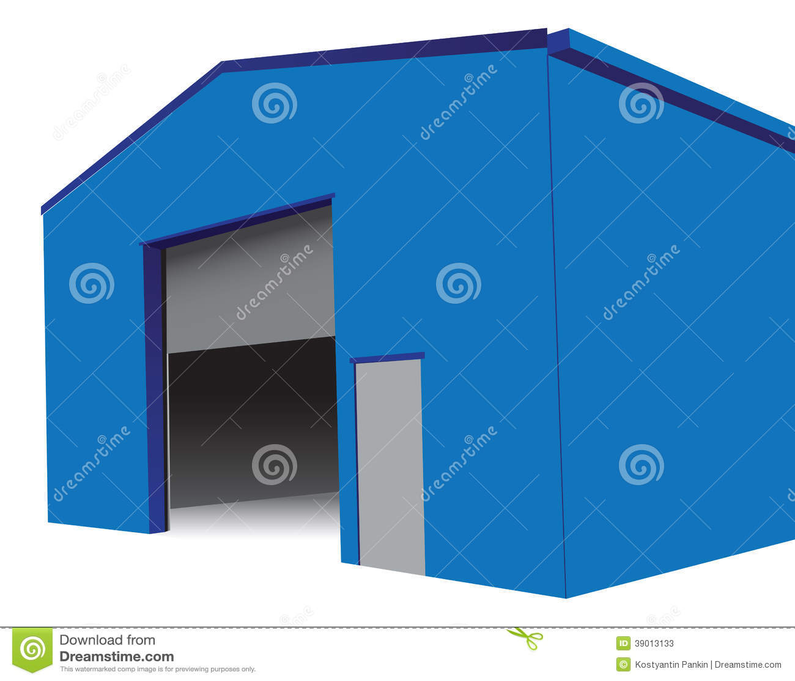 Hangar avec une porte ouverte illustration de vecteur for Porte hangar