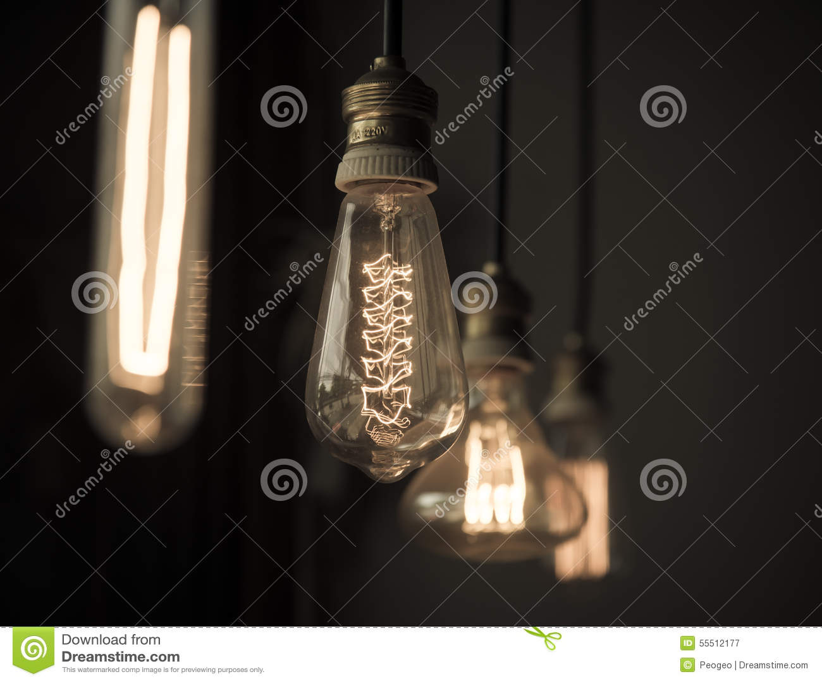 Dark room with light bulb - Hanged Light Bulbs In Dark Room Vintage