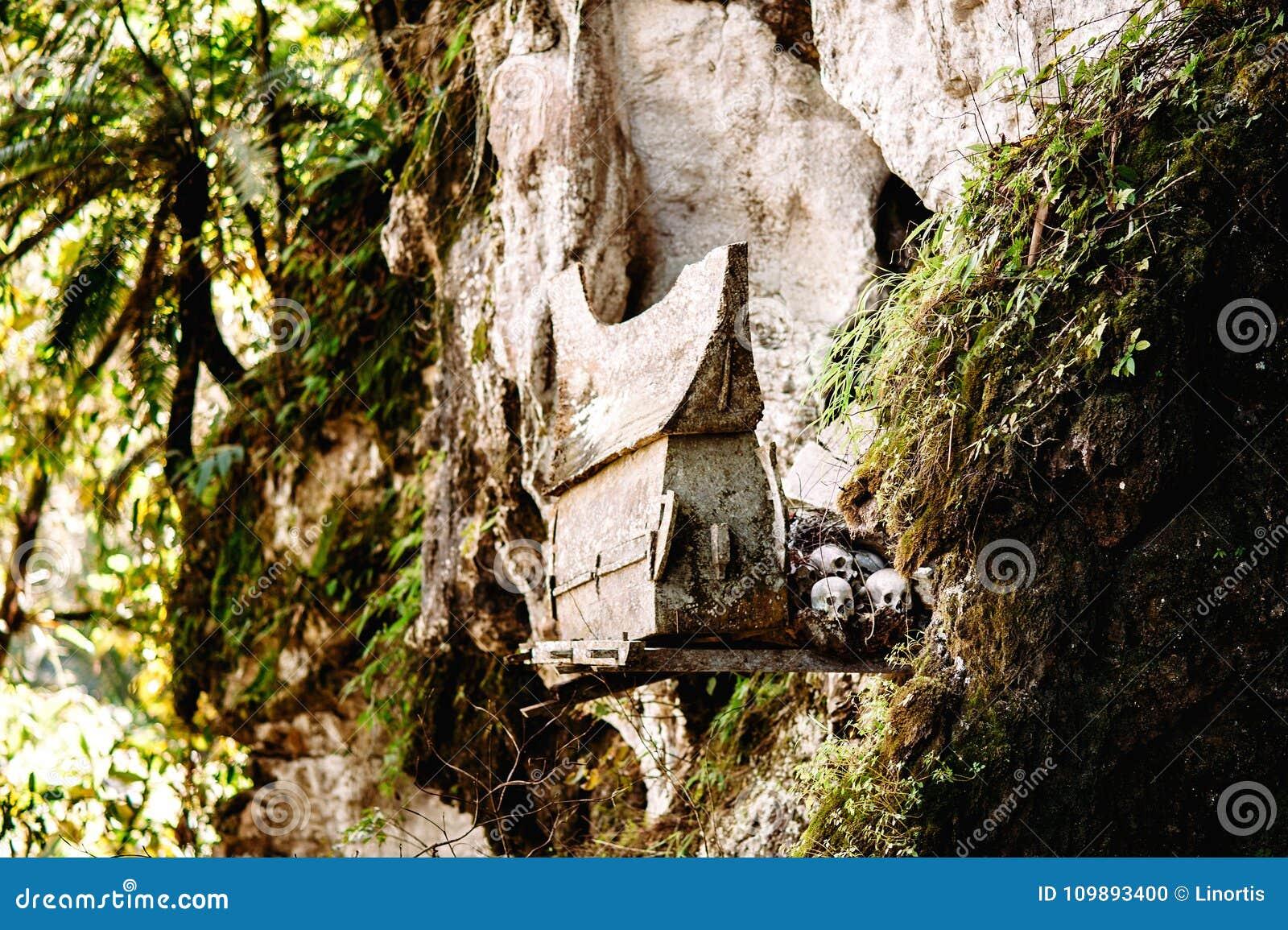 Hangende doodskisten, graven Oude doodskist met schedels en beenderen dichtbij op een rots Begrafenissenplaats, begraafplaats Ket