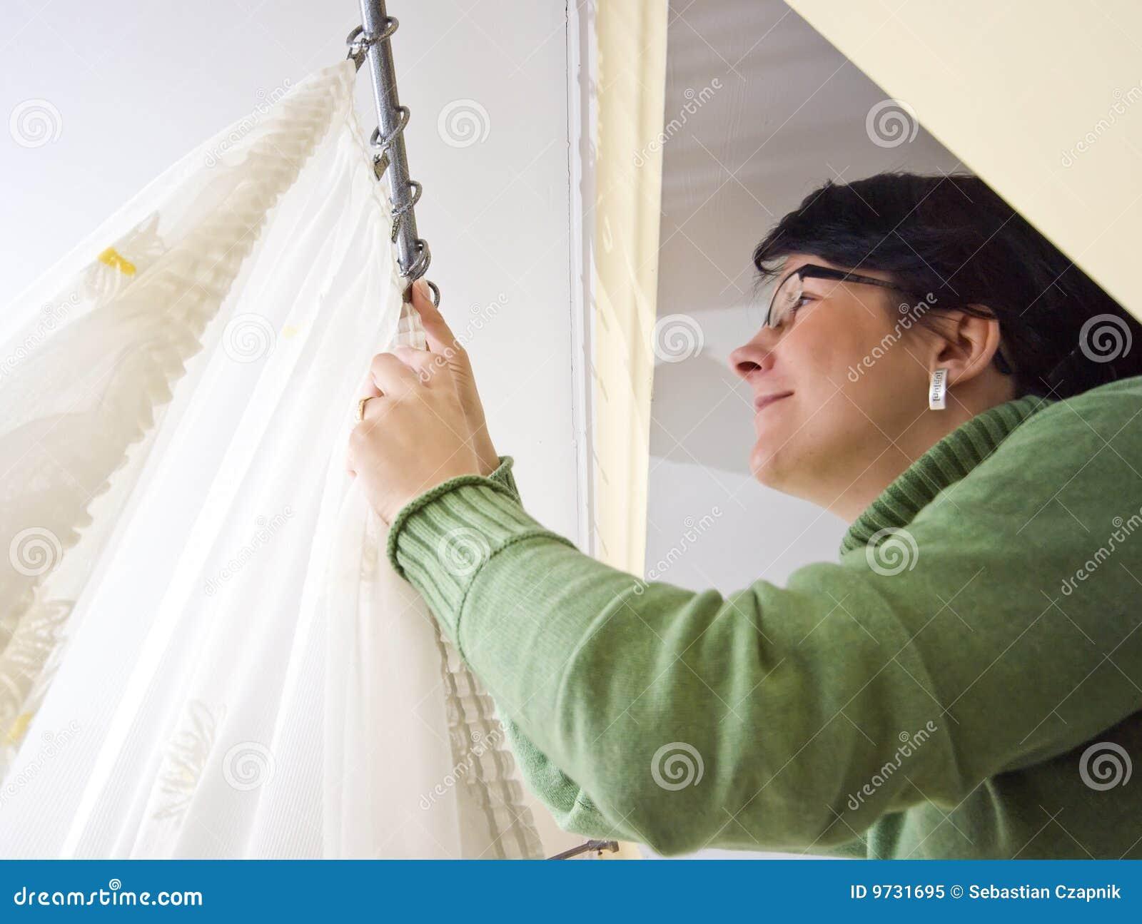 Hangende netto gordijnen